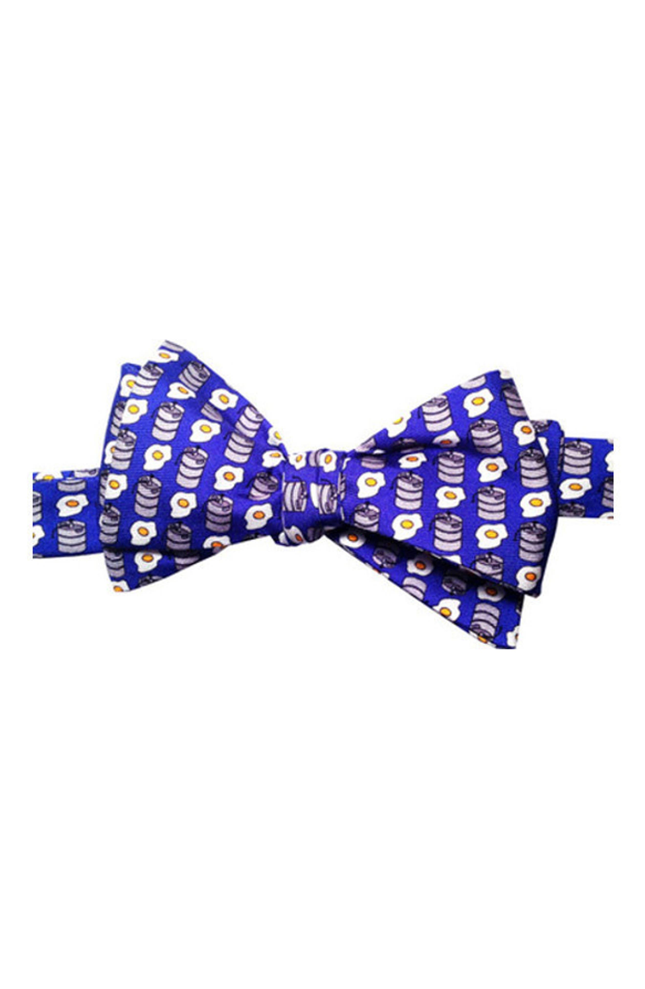 Kegs & Eggs Silk Bow Tie,                         Main,                         color, Blue