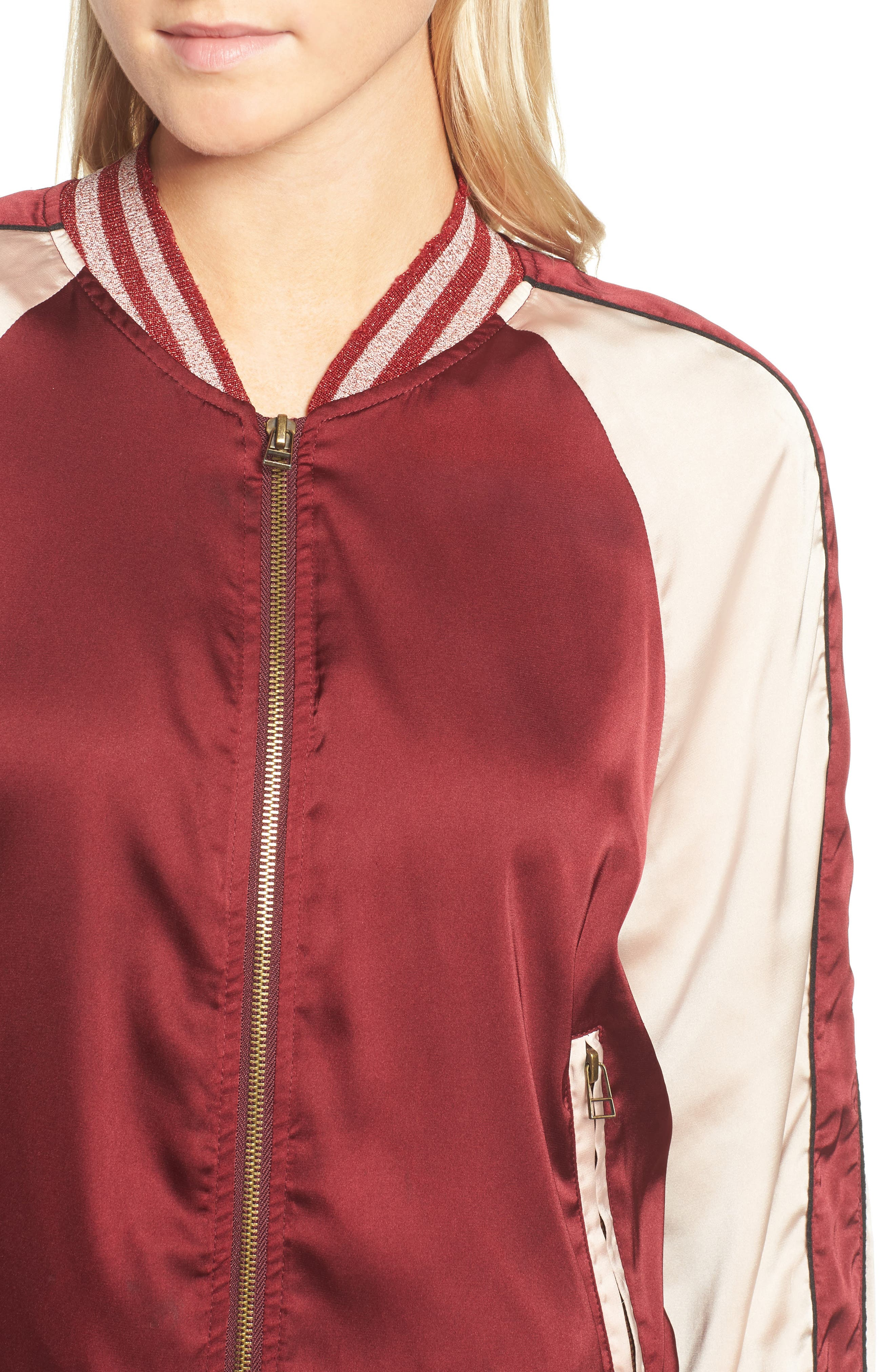 Los Feliz Tigers Bomber Jacket,                             Alternate thumbnail 4, color,                             Maroon