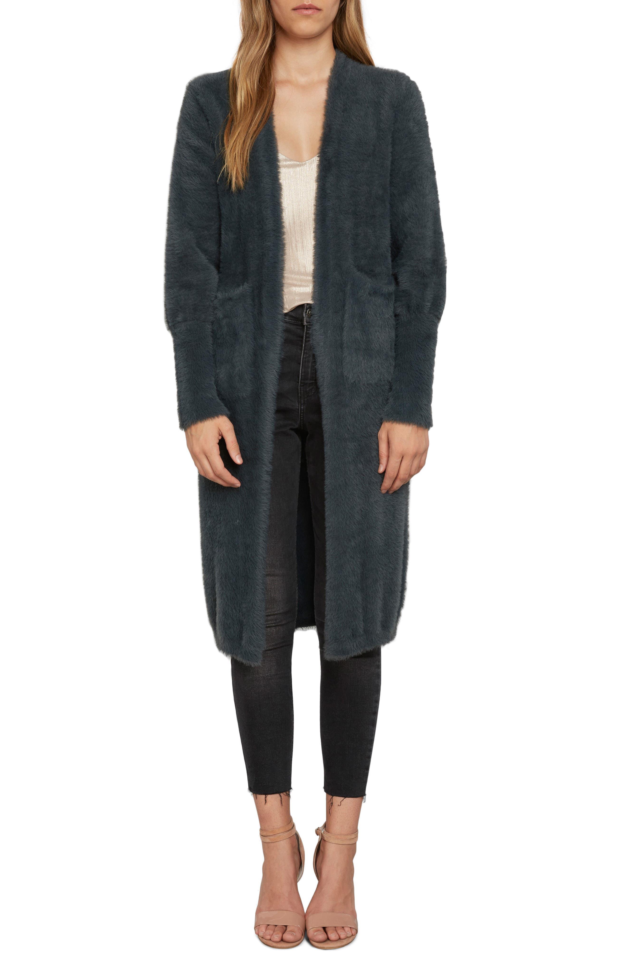 Fuzzy Longline Cardigan,                         Main,                         color, Slate
