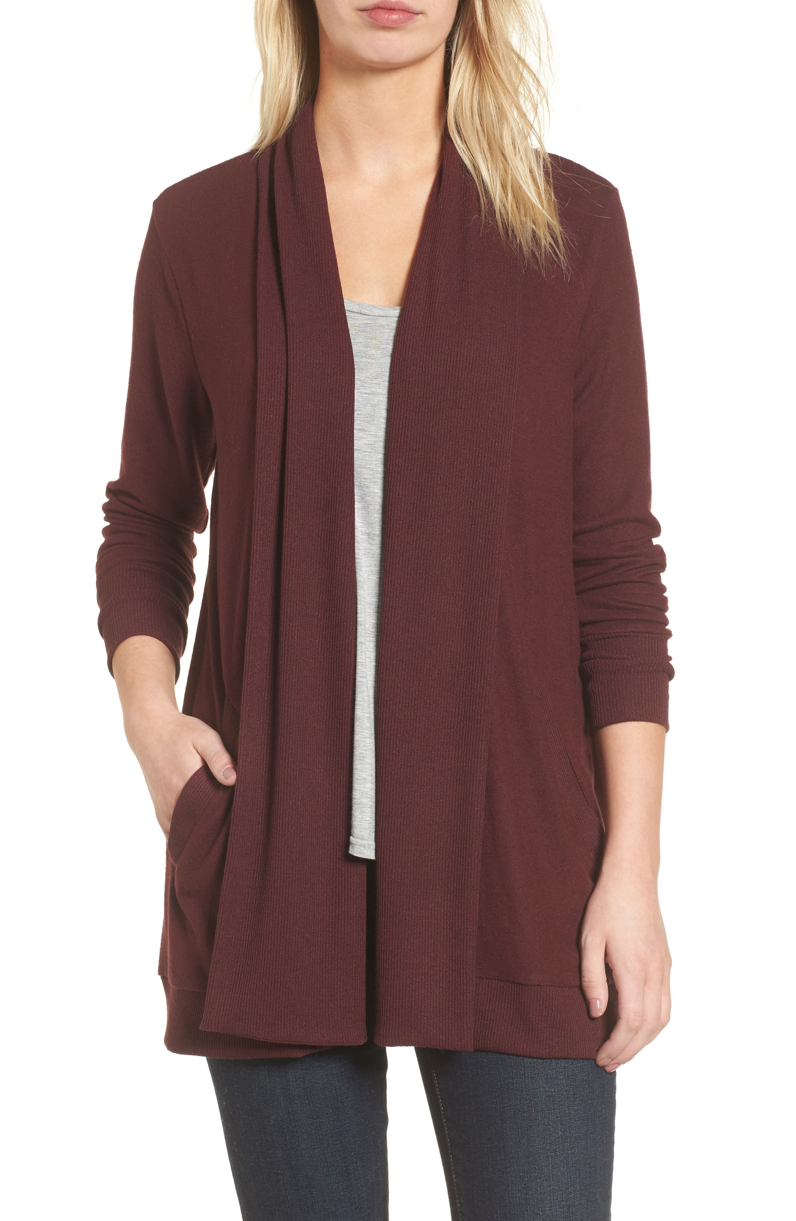 Gibson Cozy Fleece Ribbed Cardigan (Regular & Petite)