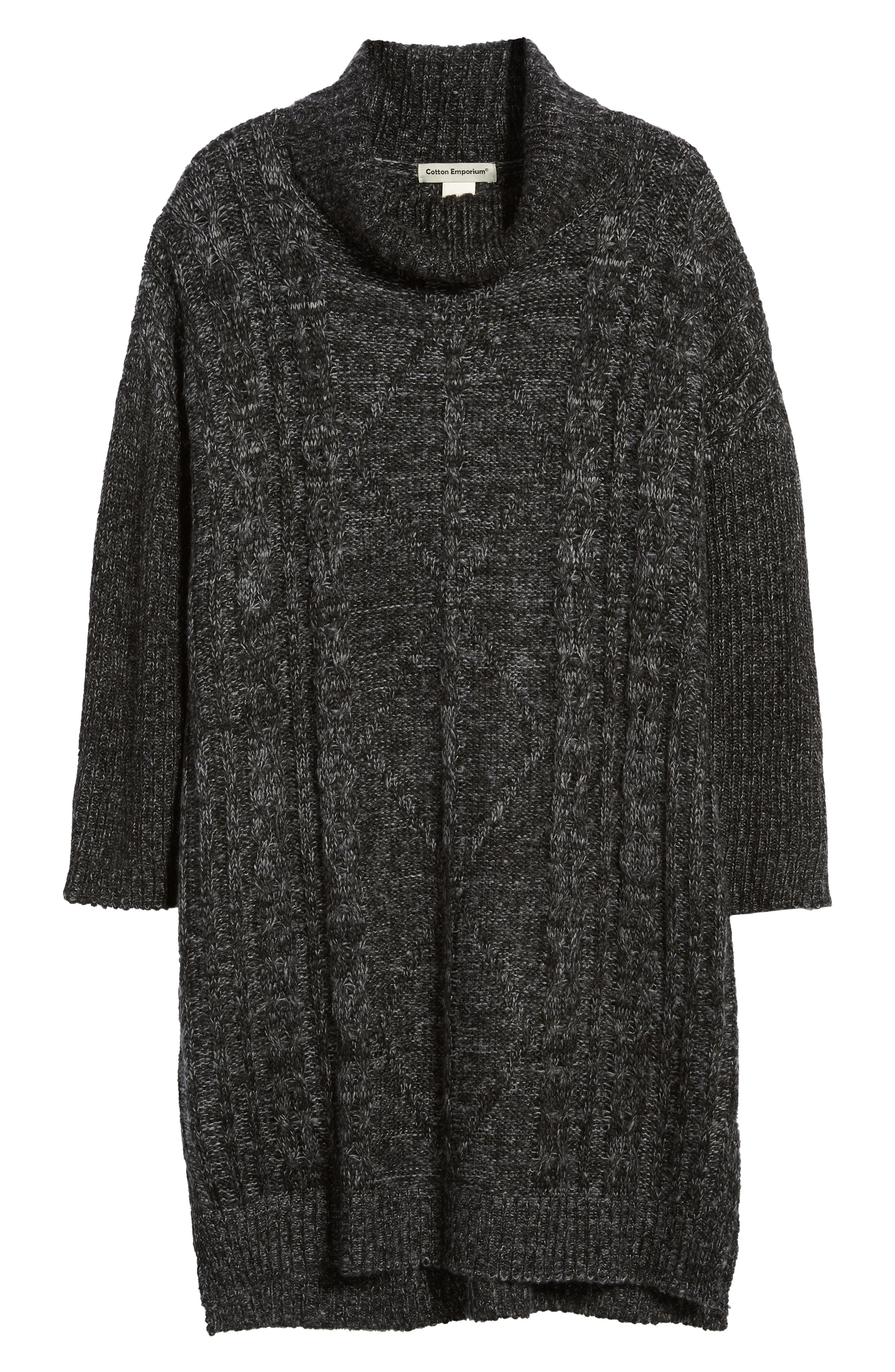 Chunky Turtleneck Sweater Dress,                             Alternate thumbnail 6, color,                             Charcoal
