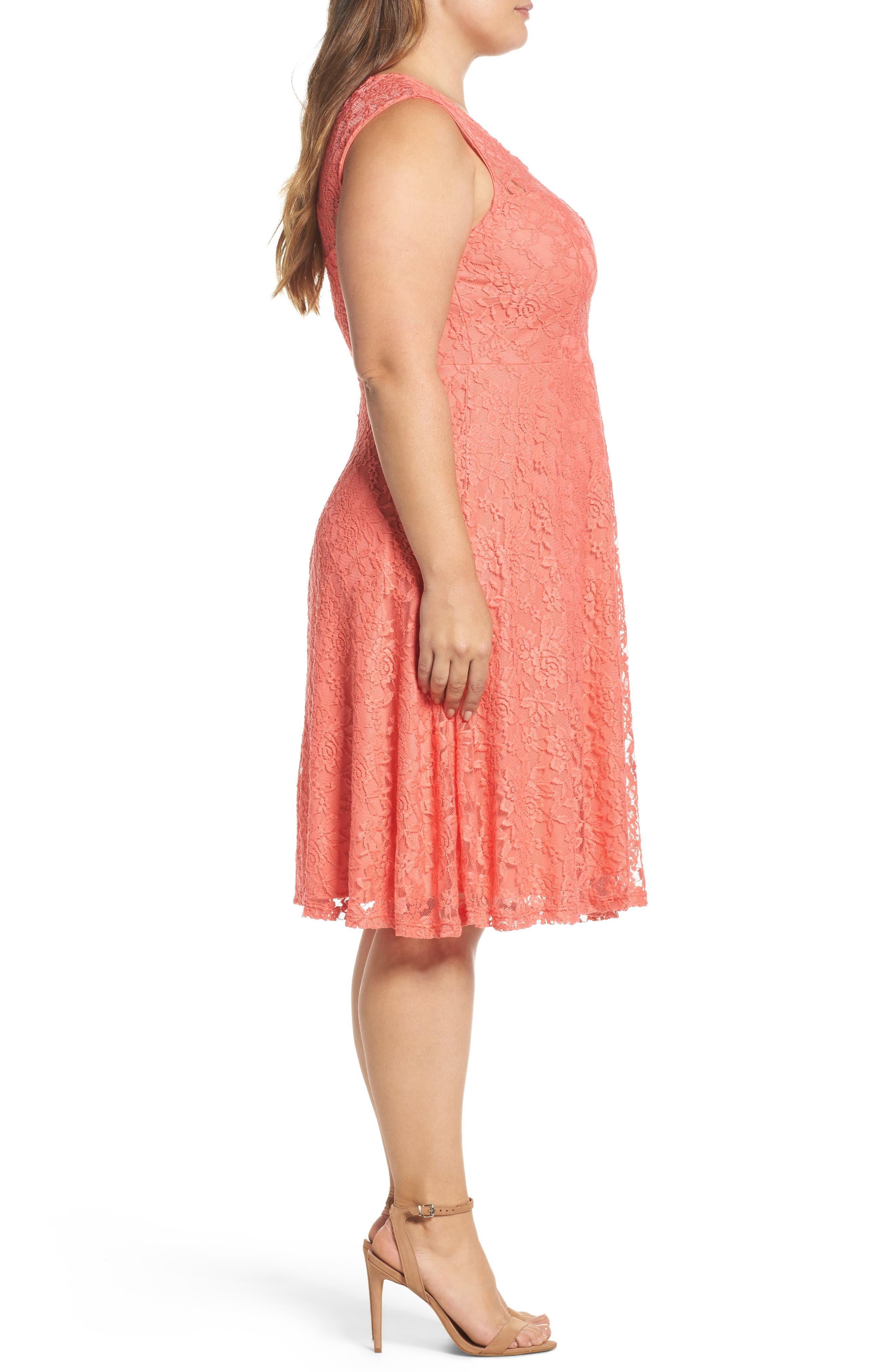 Lace Skater Dress,                             Alternate thumbnail 3, color,                             Coral