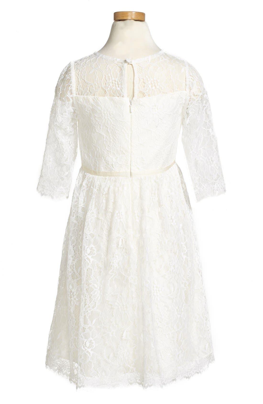 Annie Floral Appliqué Lace Dress,                             Alternate thumbnail 4, color,                             Ivory