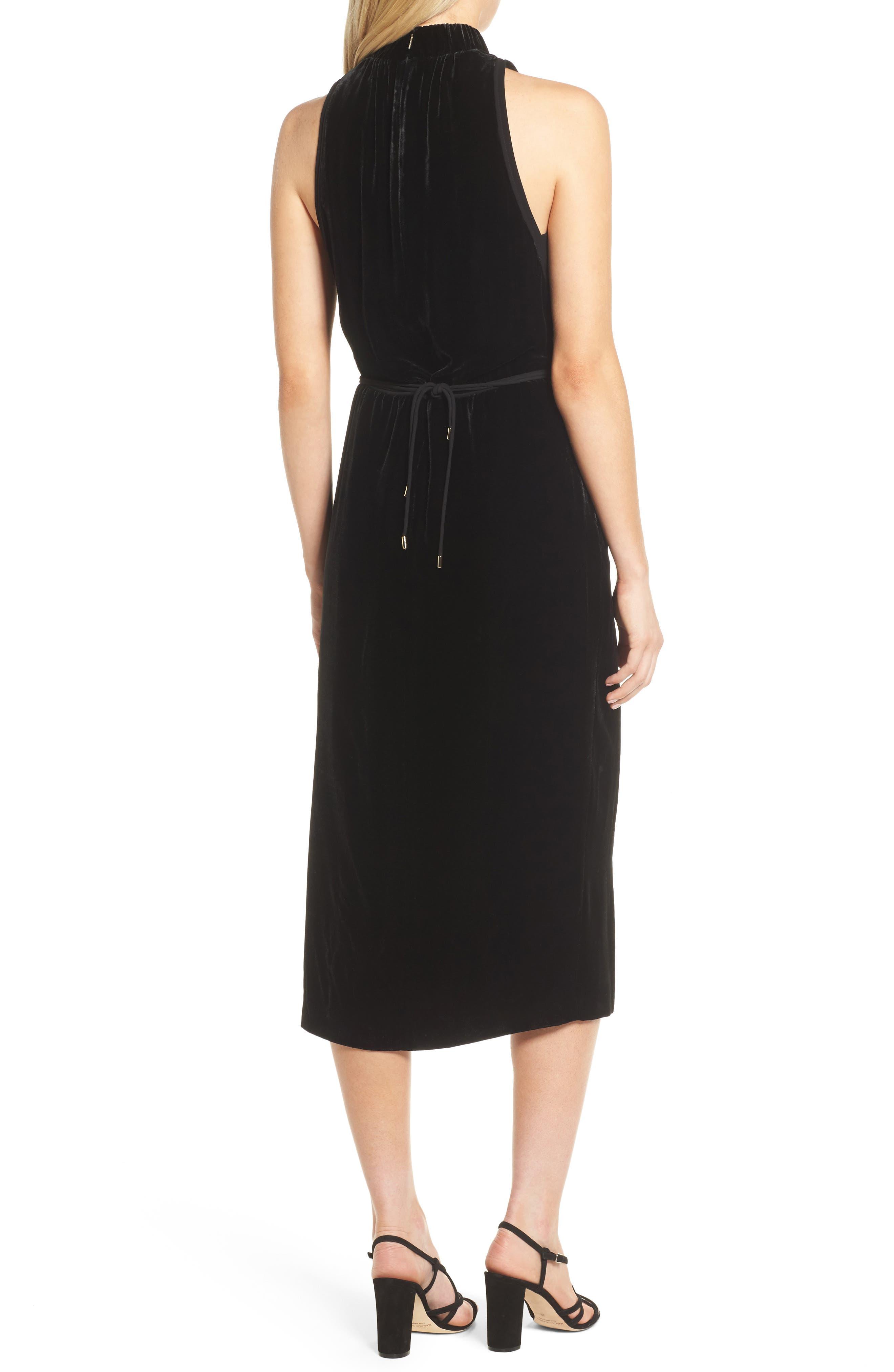Difosia Velvet Midi Dress,                             Alternate thumbnail 2, color,                             Black