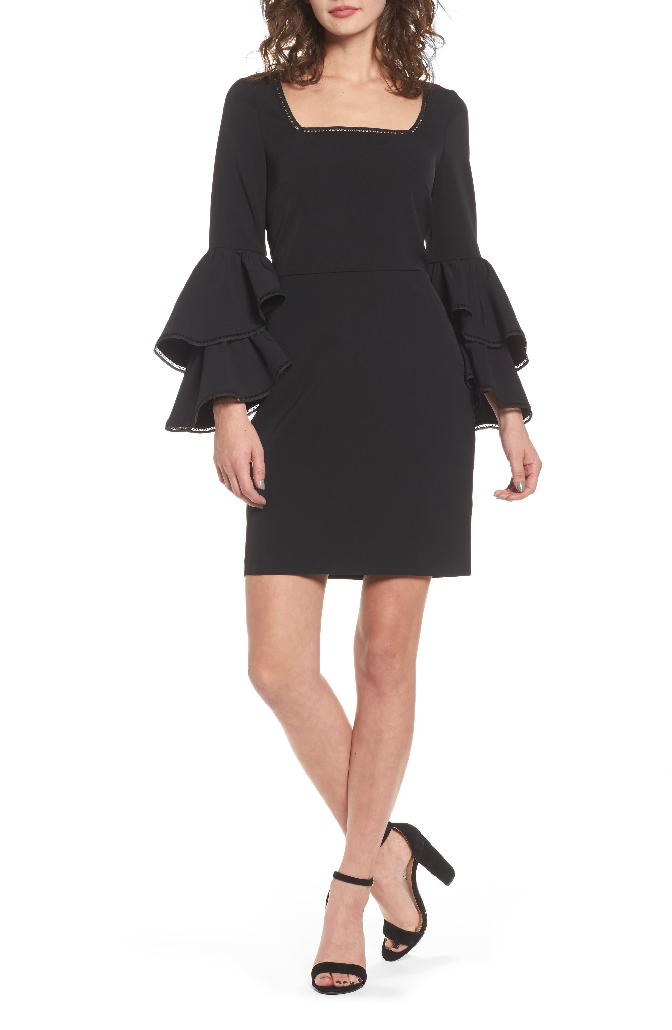 Emmie Ruffle Sleeve Sheath Dress,                         Main,                         color, Black