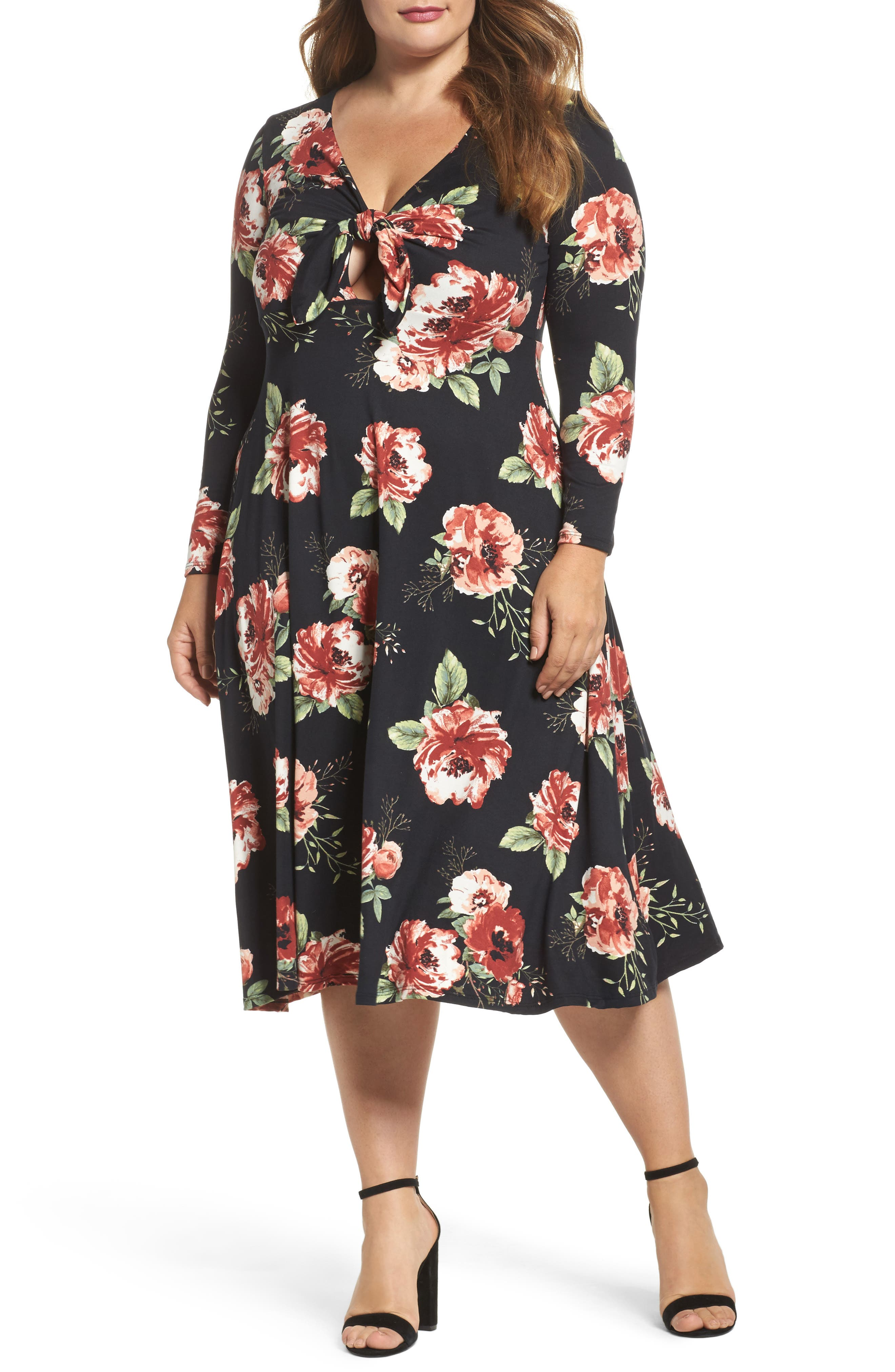 Plunging Floral Midi Dress,                             Main thumbnail 1, color,                             Black