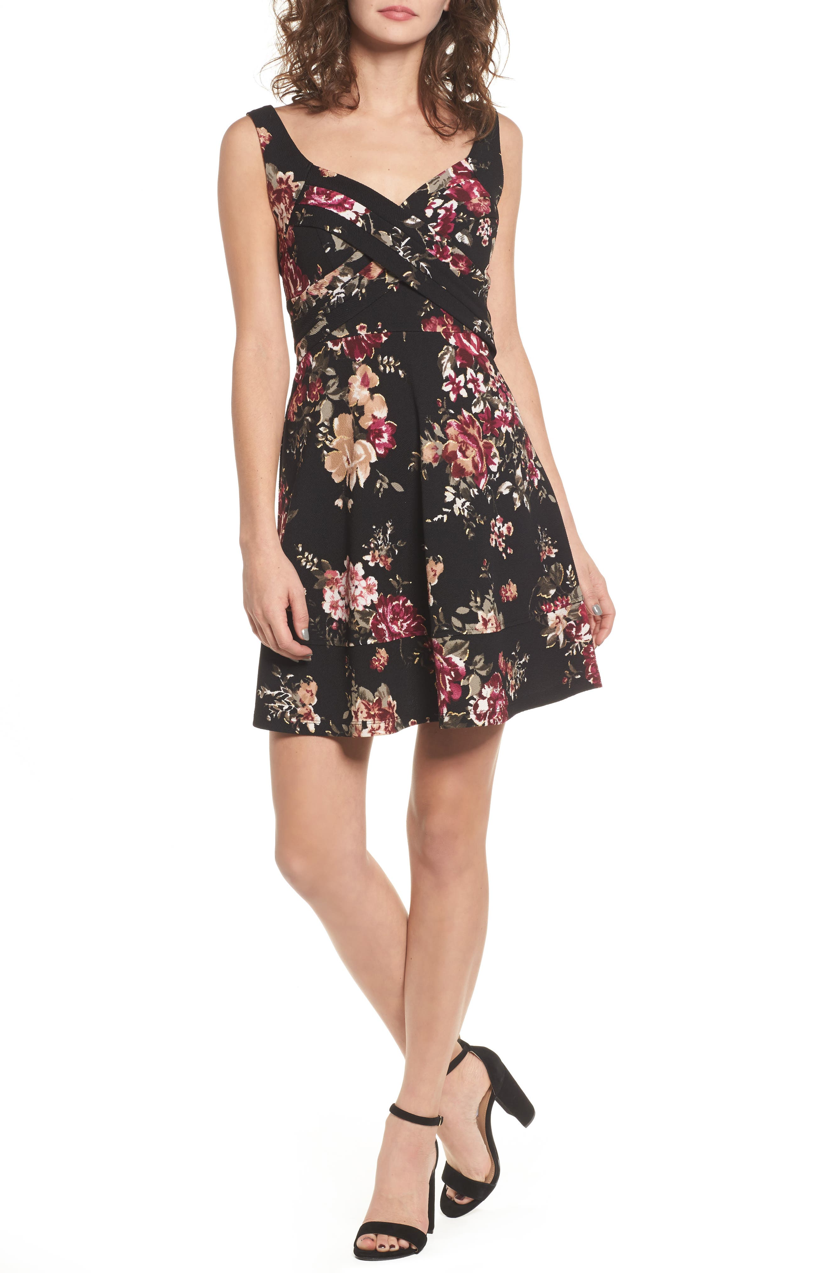 Floral Fit & Flare Dress,                         Main,                         color, Black