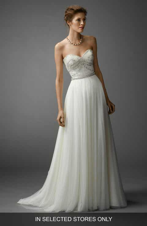 Womens wedding dresses bridal gowns nordstrom watters gracua soft net a line skirt junglespirit Images