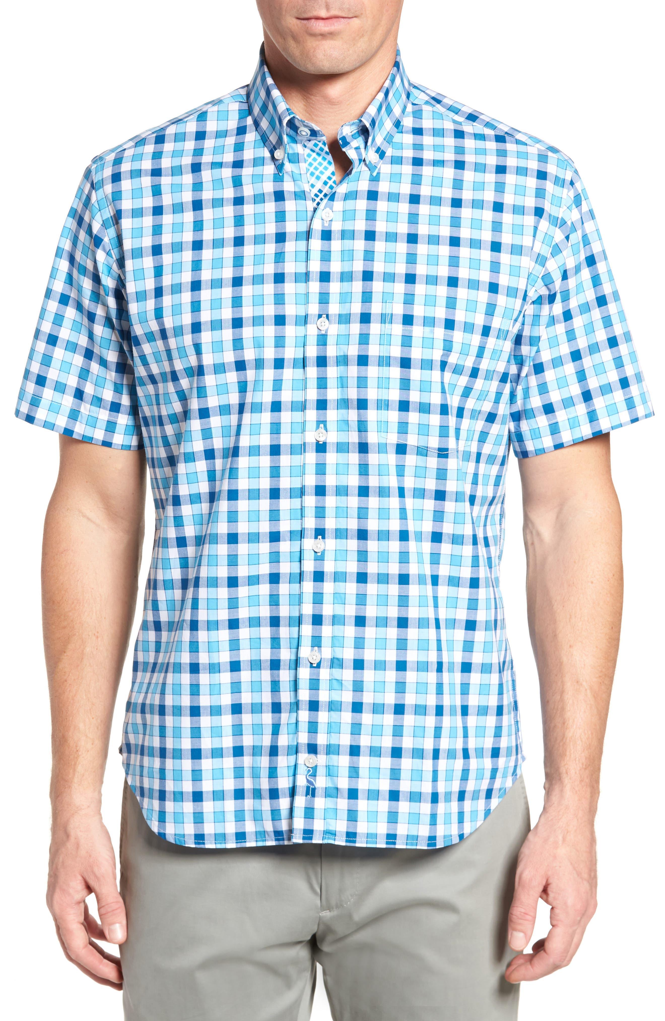 West We Go Regular Fit Plaid Sport Shirt,                             Main thumbnail 1, color,                             Aqua