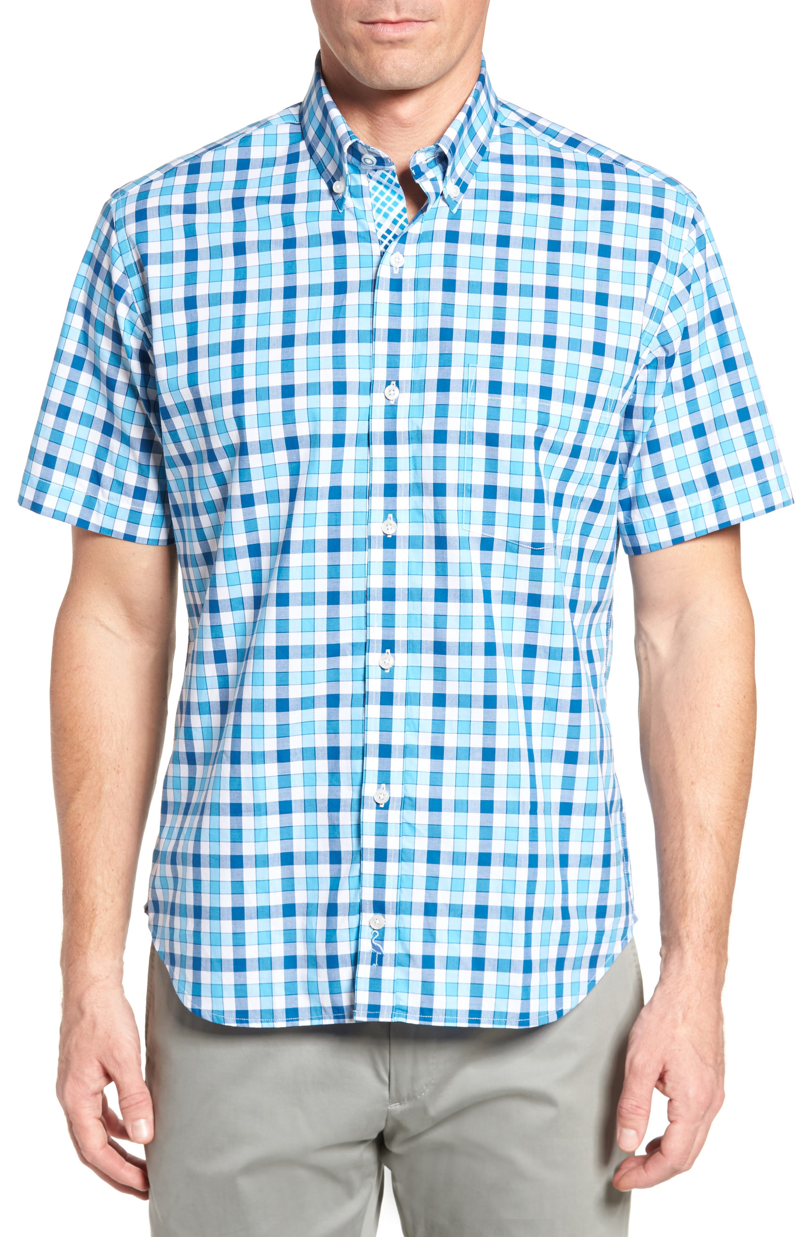 West We Go Regular Fit Plaid Sport Shirt,                         Main,                         color, Aqua