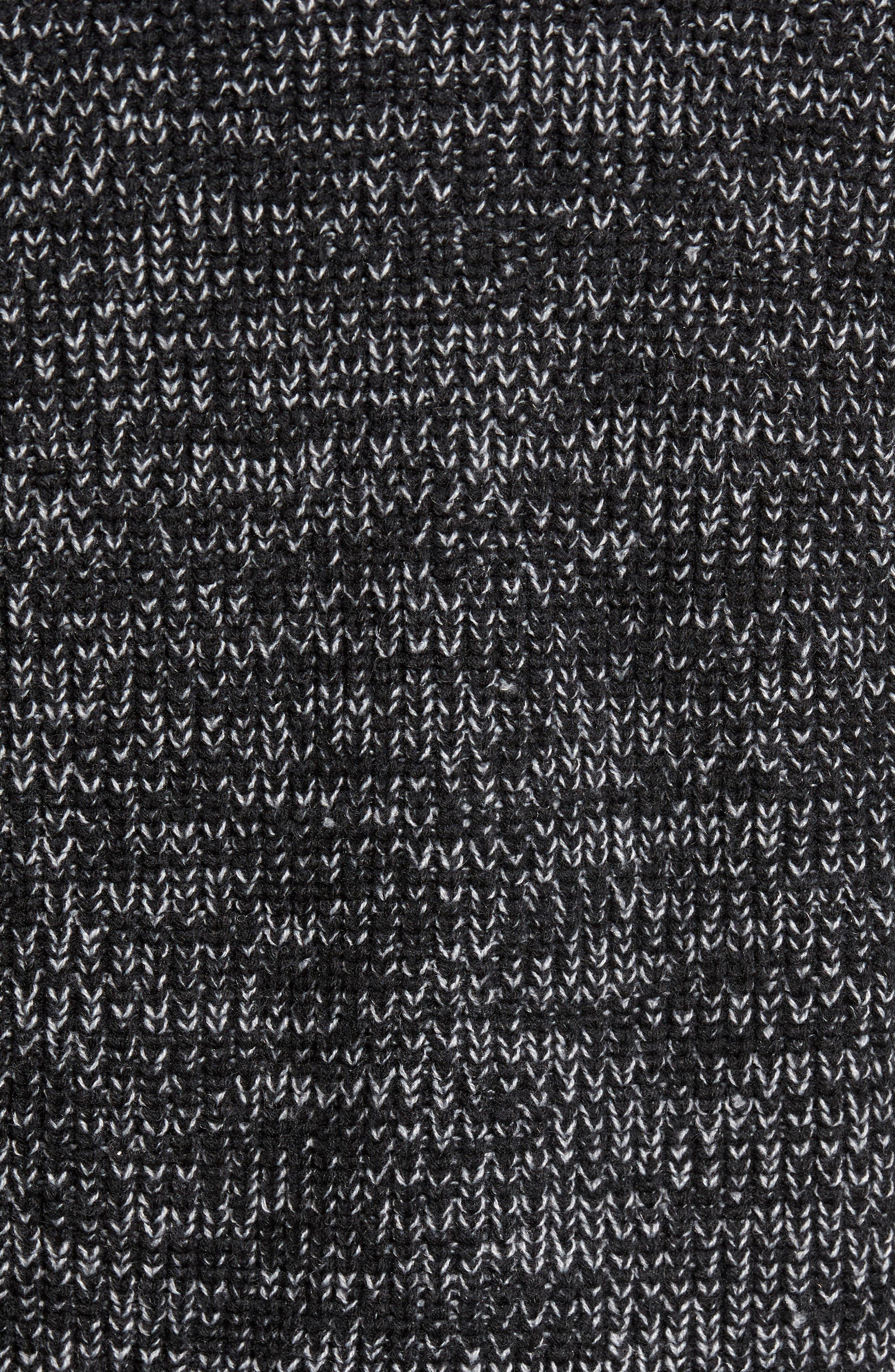 Zip Wool Blend Cardigan,                             Alternate thumbnail 5, color,                             Black