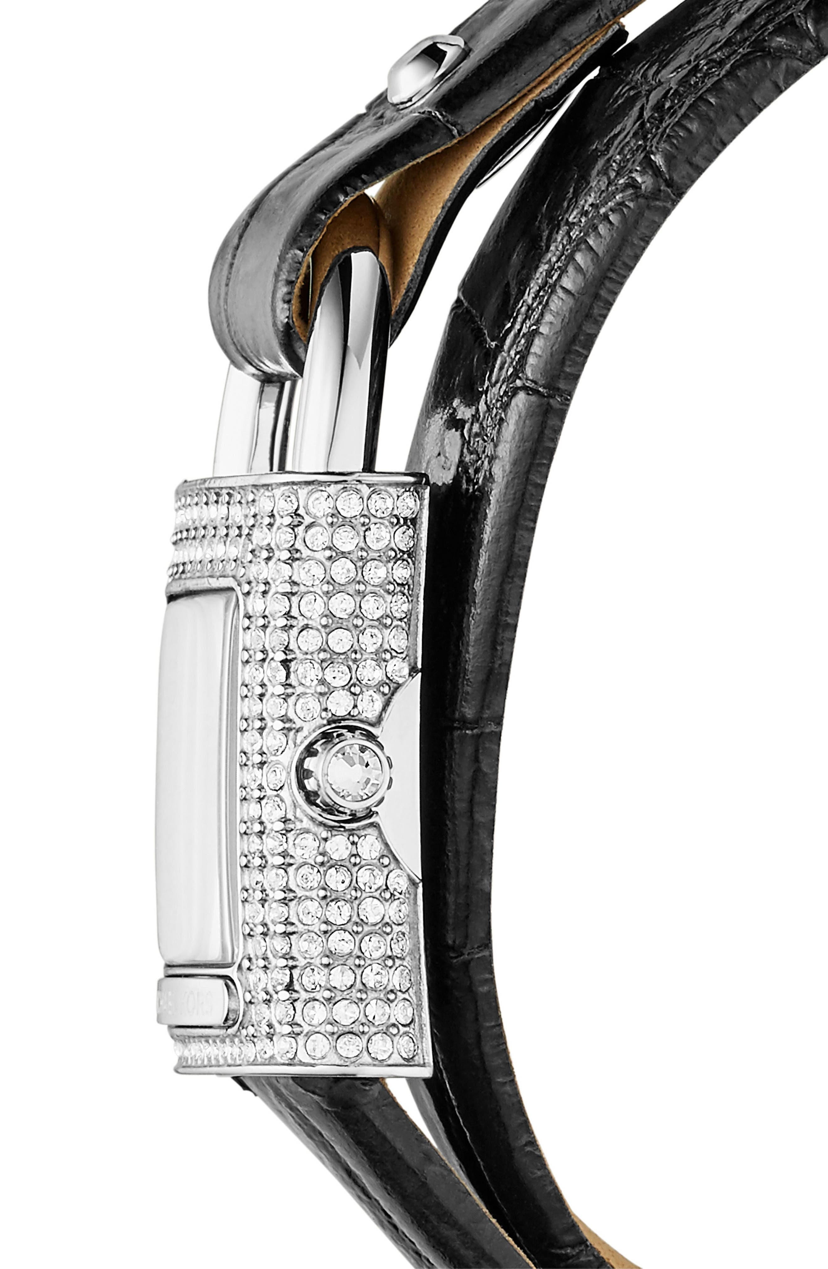 Isadore Double Wrap Leather Strap Watch, 28mm,                             Alternate thumbnail 2, color,                             Black/ Silver