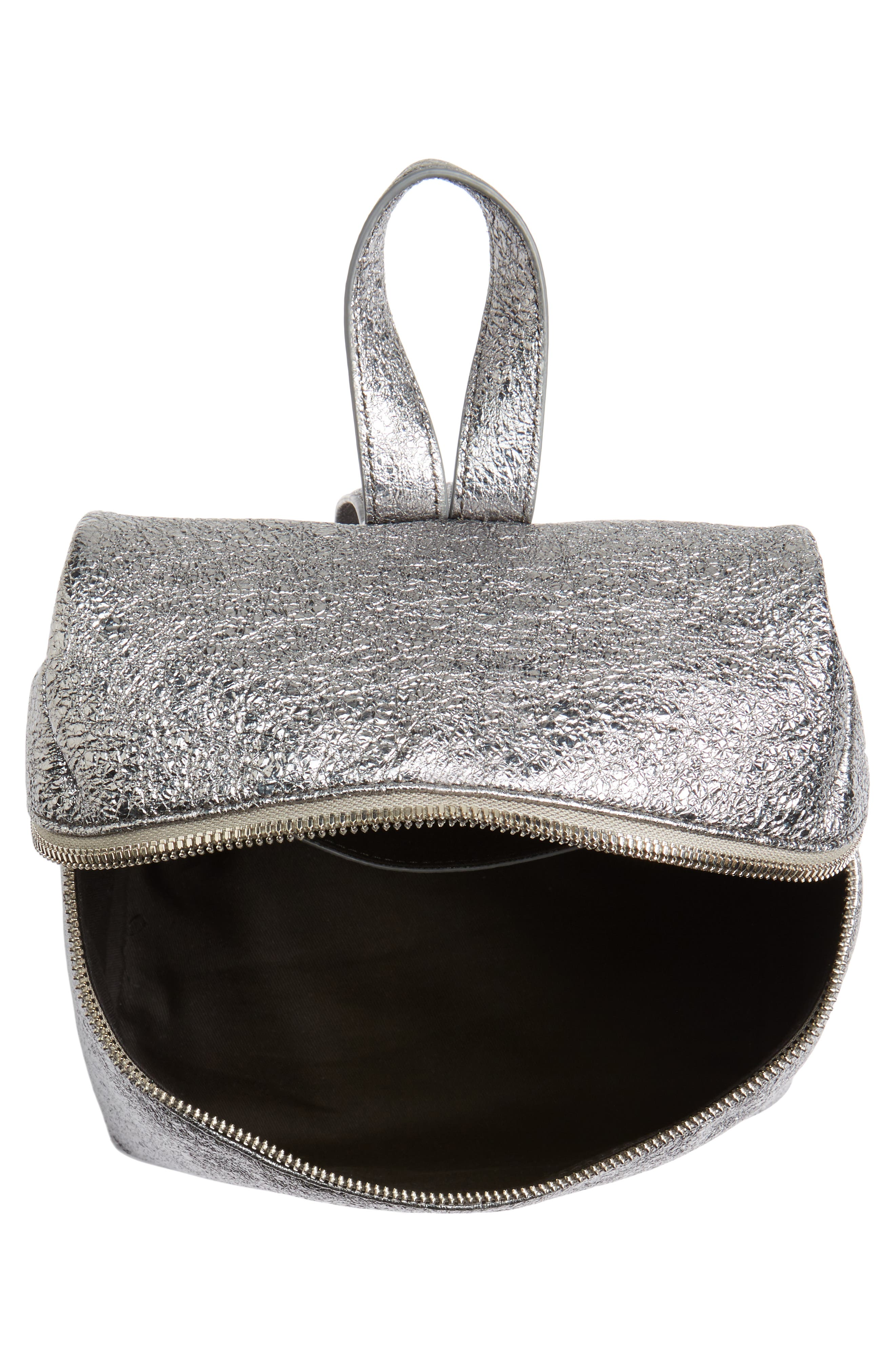 Small Crinkled Metallic Leather Backpack,                             Alternate thumbnail 4, color,                             Pyrite