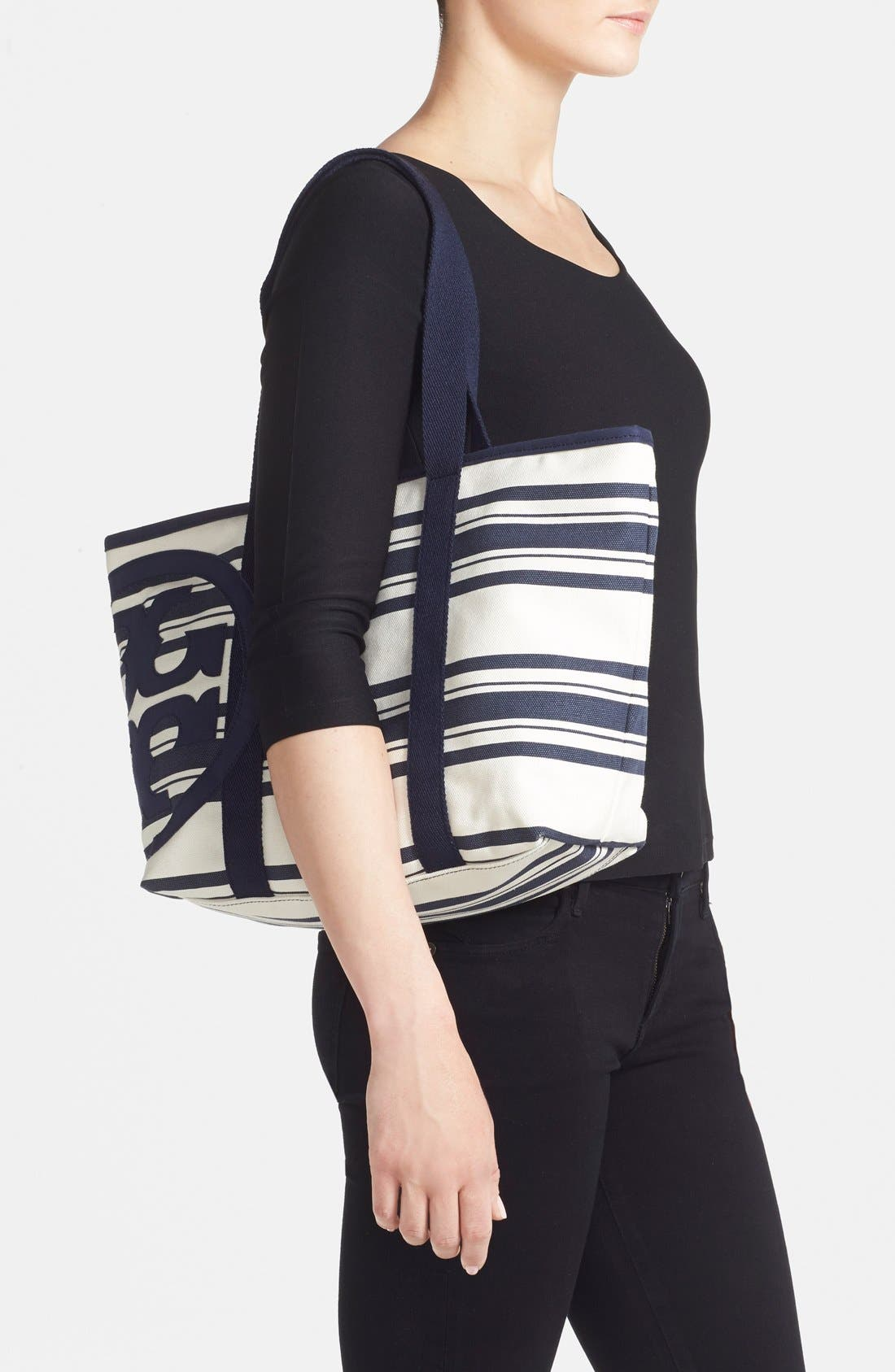 Small Canvas Stripe Tote,                             Alternate thumbnail 2, color,                             Tory Navy Awning Stripe