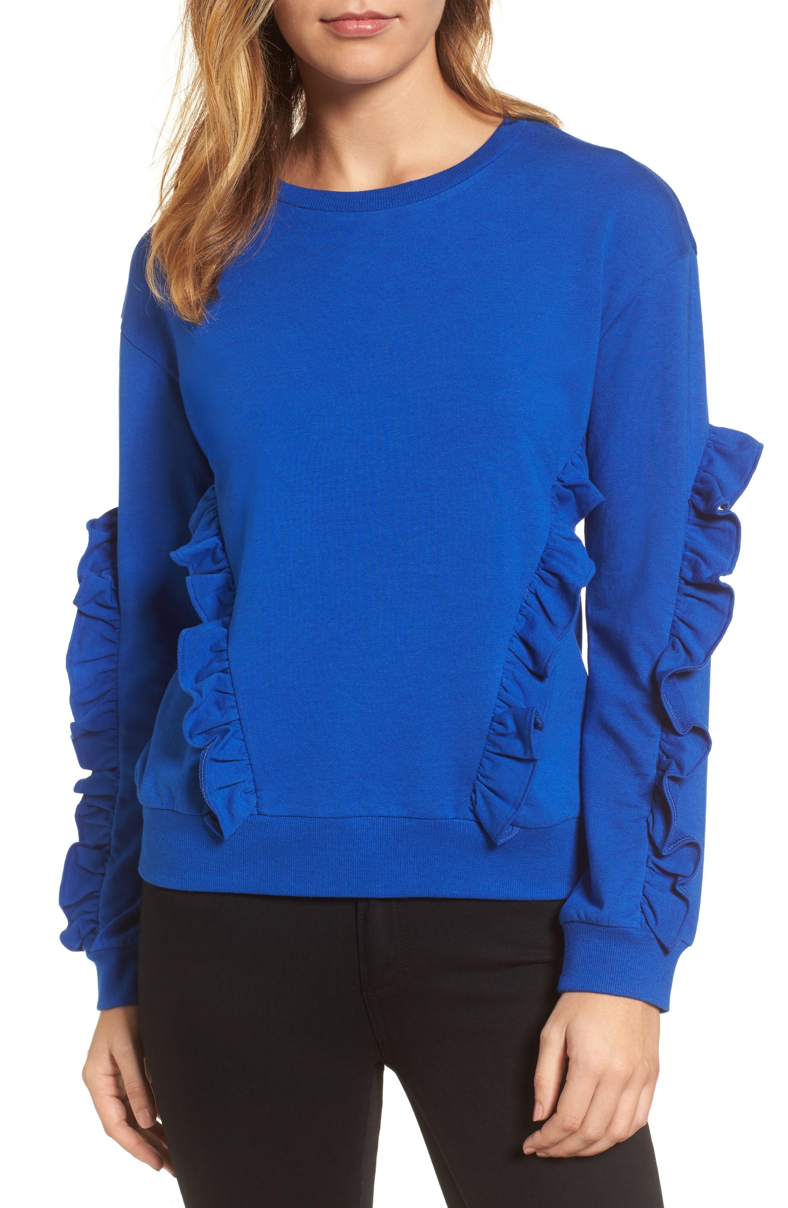 Ruffle Detail Sweatshirt,                         Main,                         color, Blue Surf