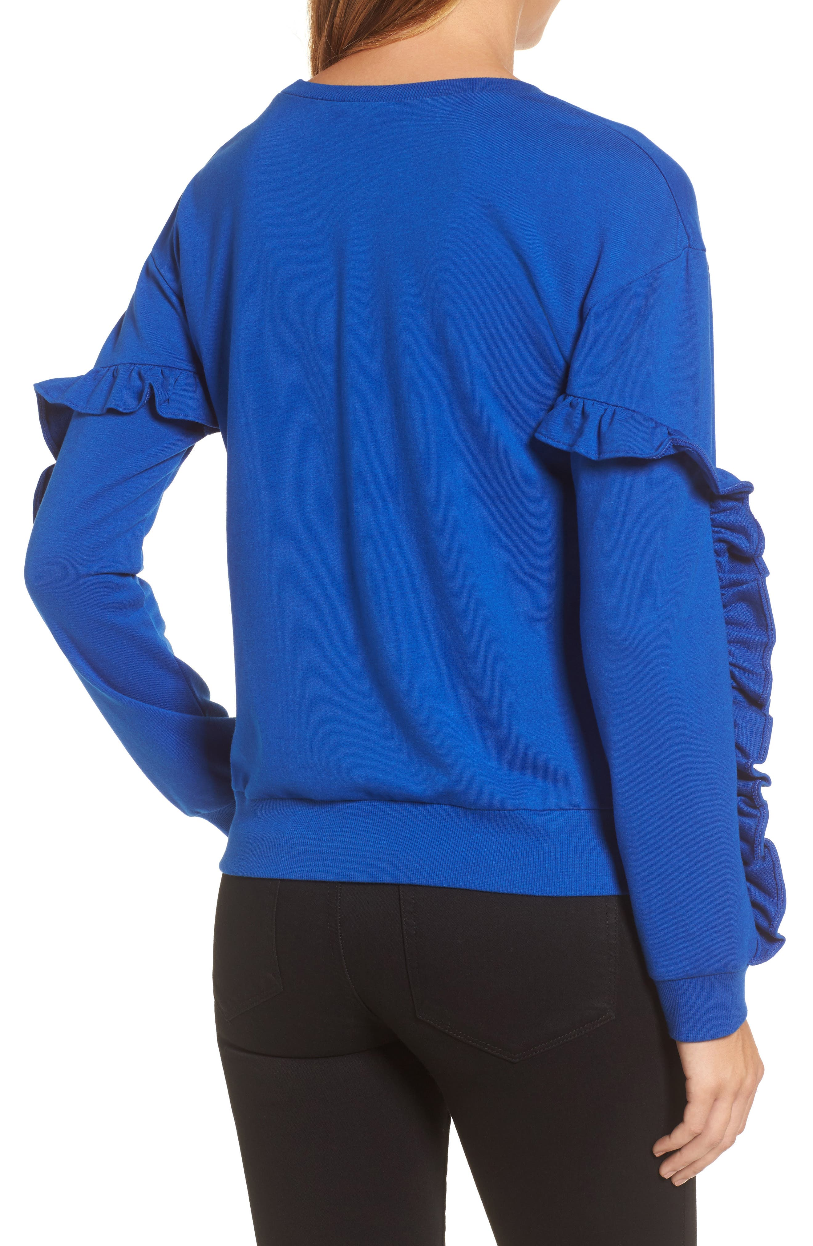 Ruffle Detail Sweatshirt,                             Alternate thumbnail 2, color,                             Blue Surf