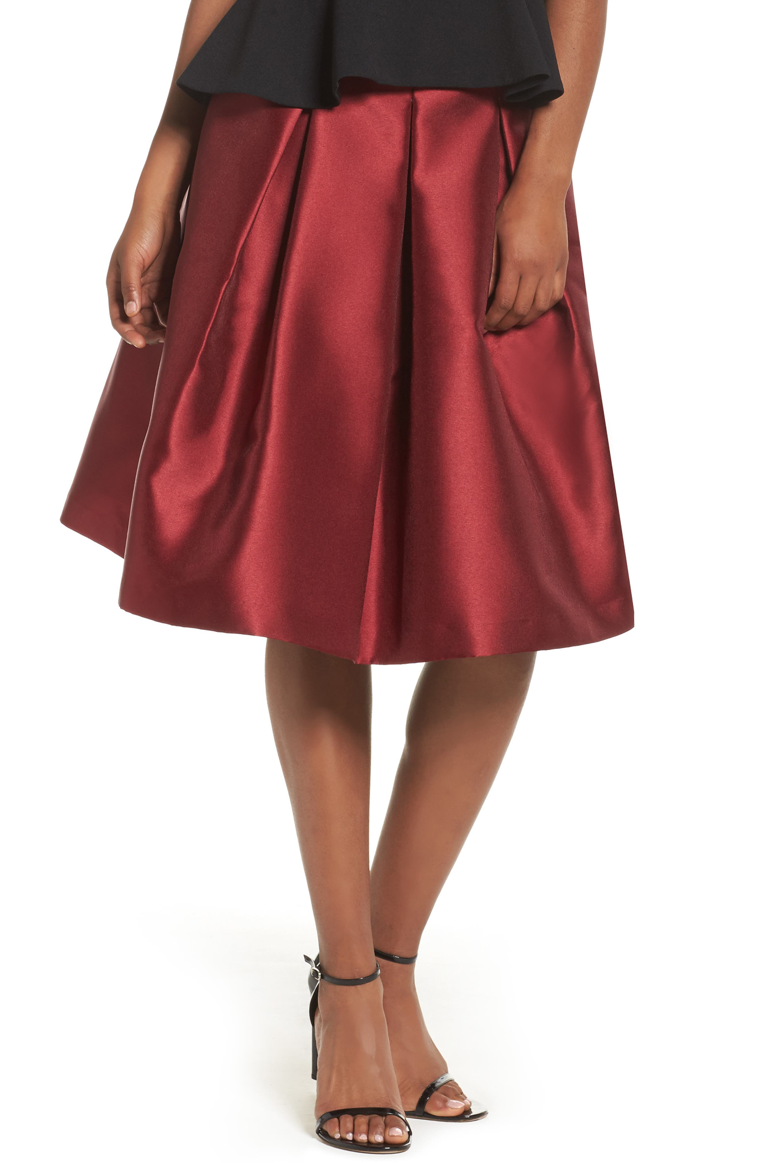 Pleated Mikado Skirt,                         Main,                         color, Red