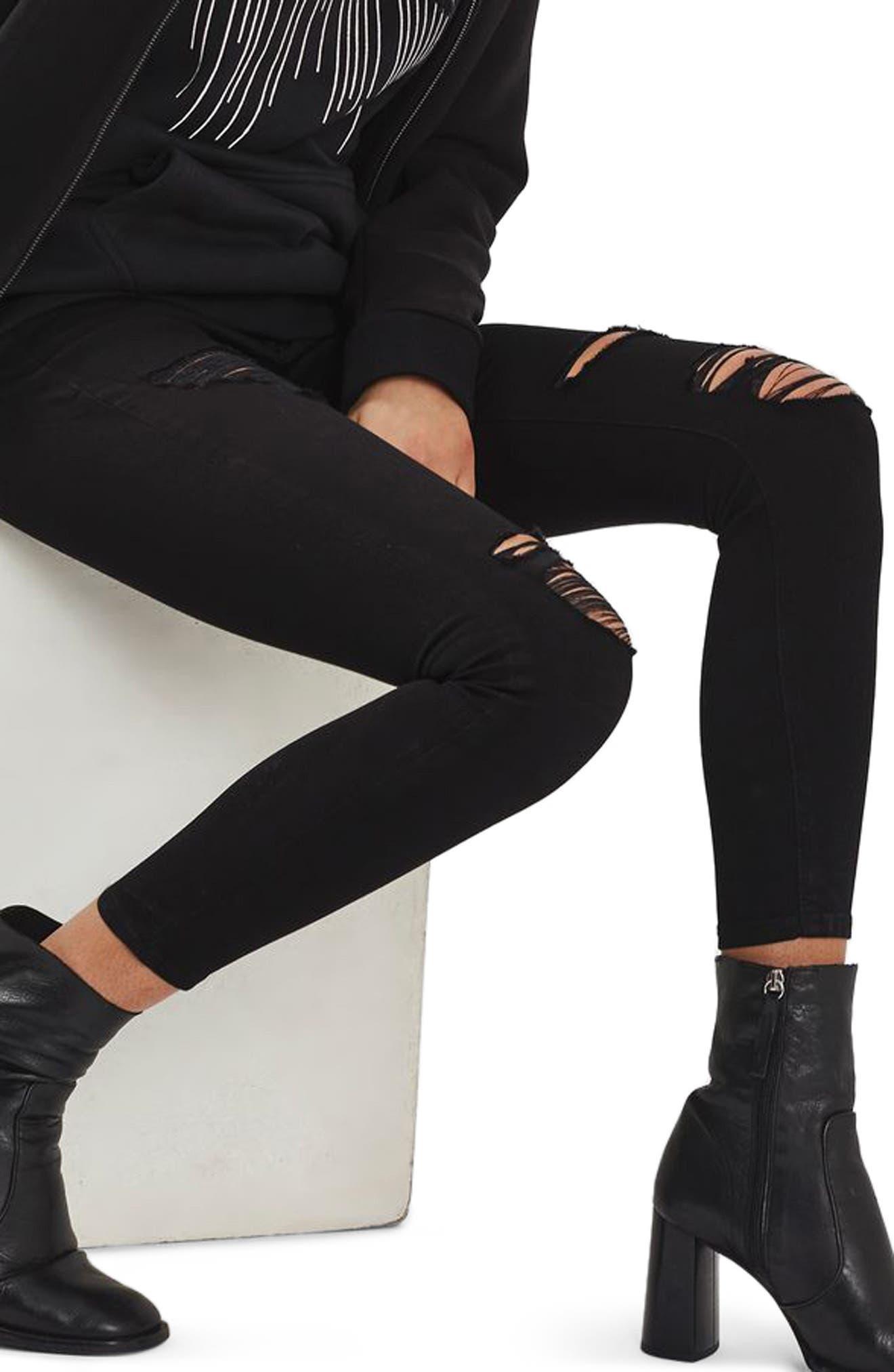 Leigh Super Rip Skinny Jeans,                             Alternate thumbnail 3, color,                             Black