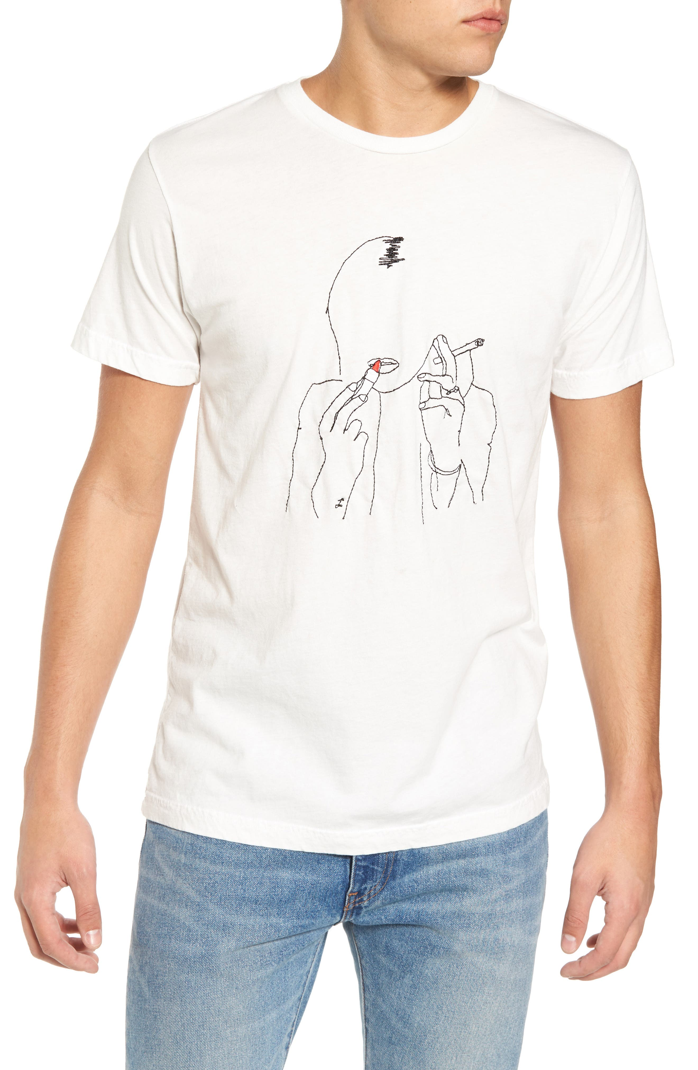 Kate Embroidered T-Shirt,                         Main,                         color, White