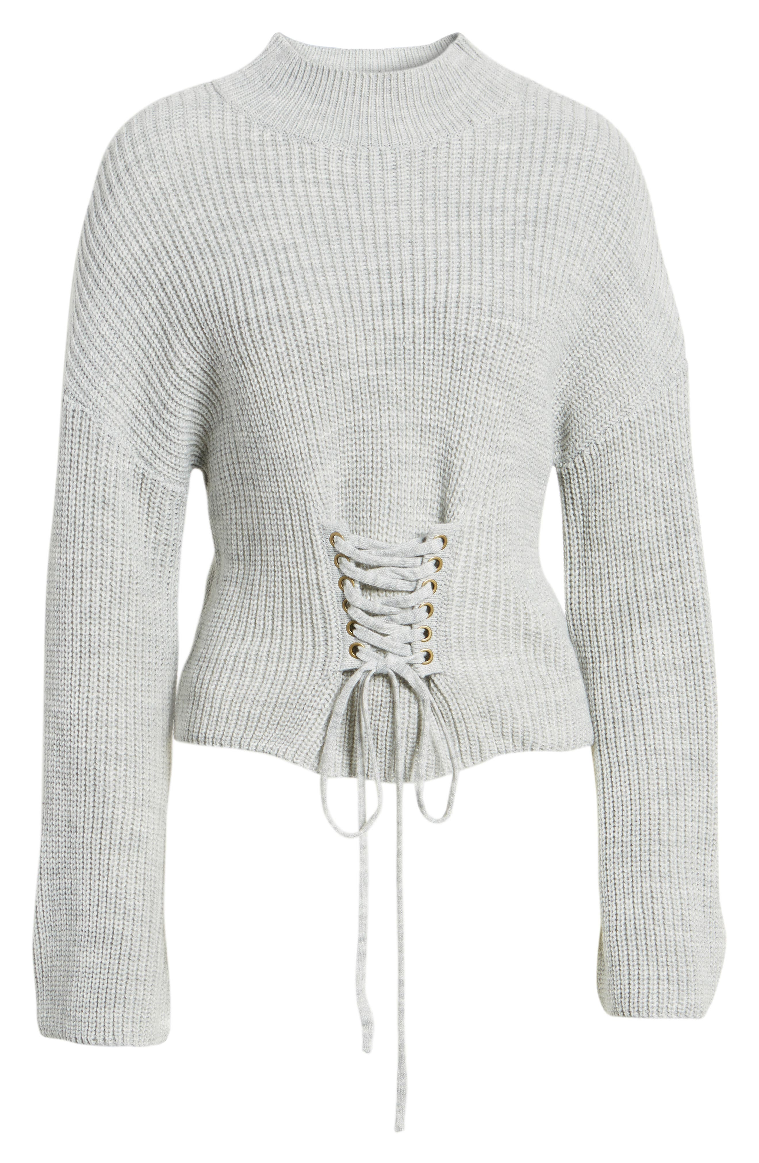 Corset Sweater,                             Alternate thumbnail 6, color,                             Grey
