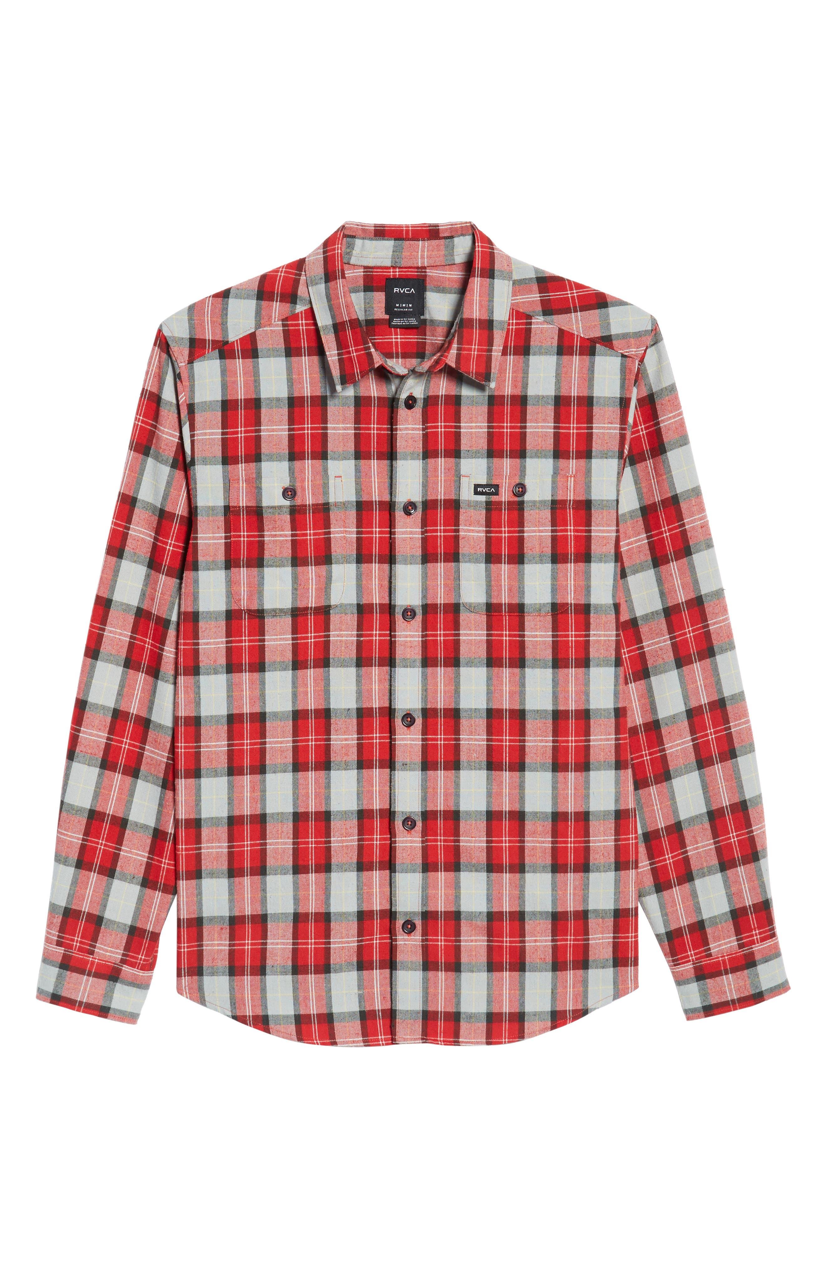 Bone Flannel Shirt,                             Alternate thumbnail 5, color,                             Pompei Red