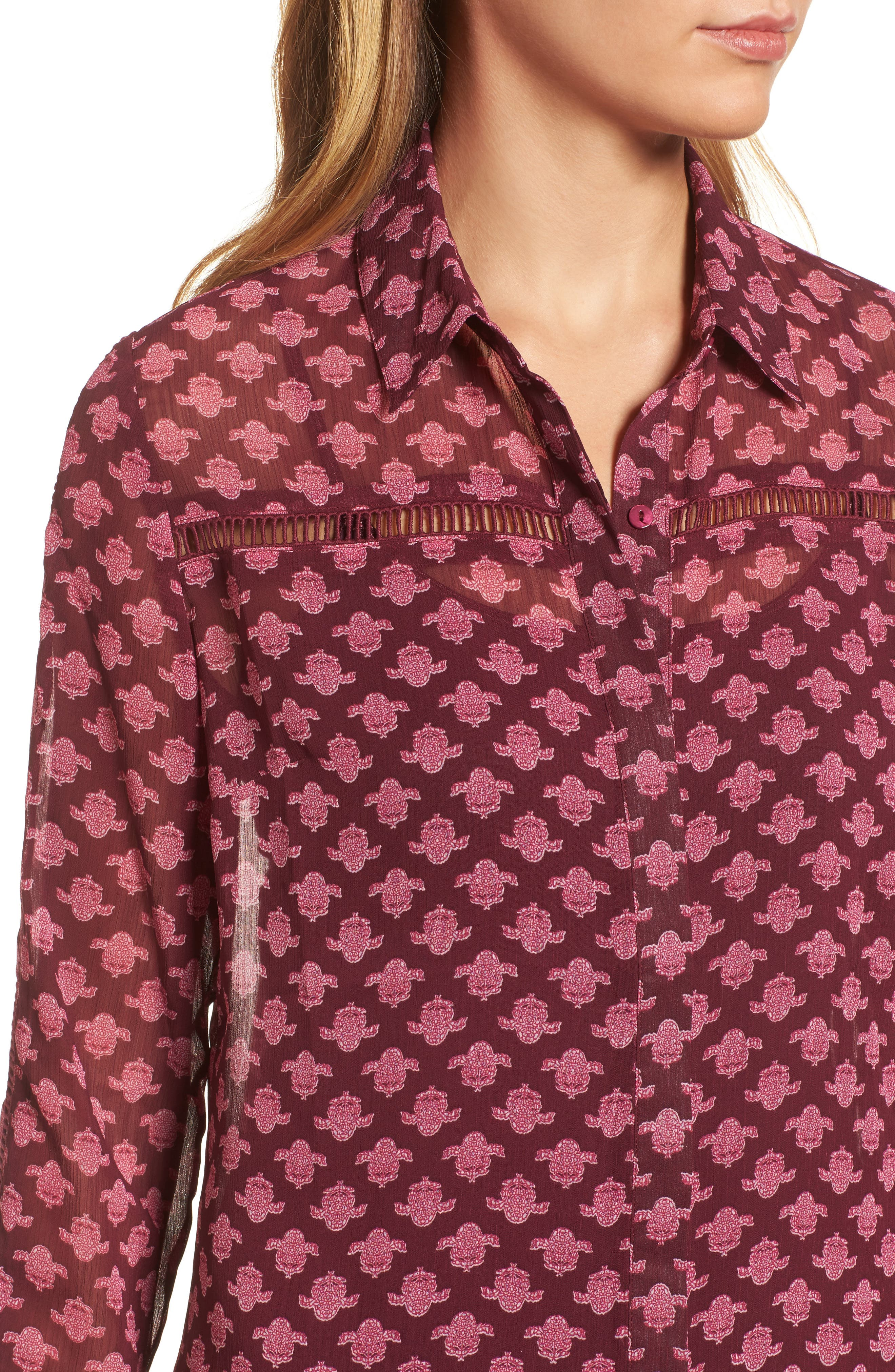 Eve Print Semi-Sheer Blouse,                             Alternate thumbnail 4, color,                             Dark Berry
