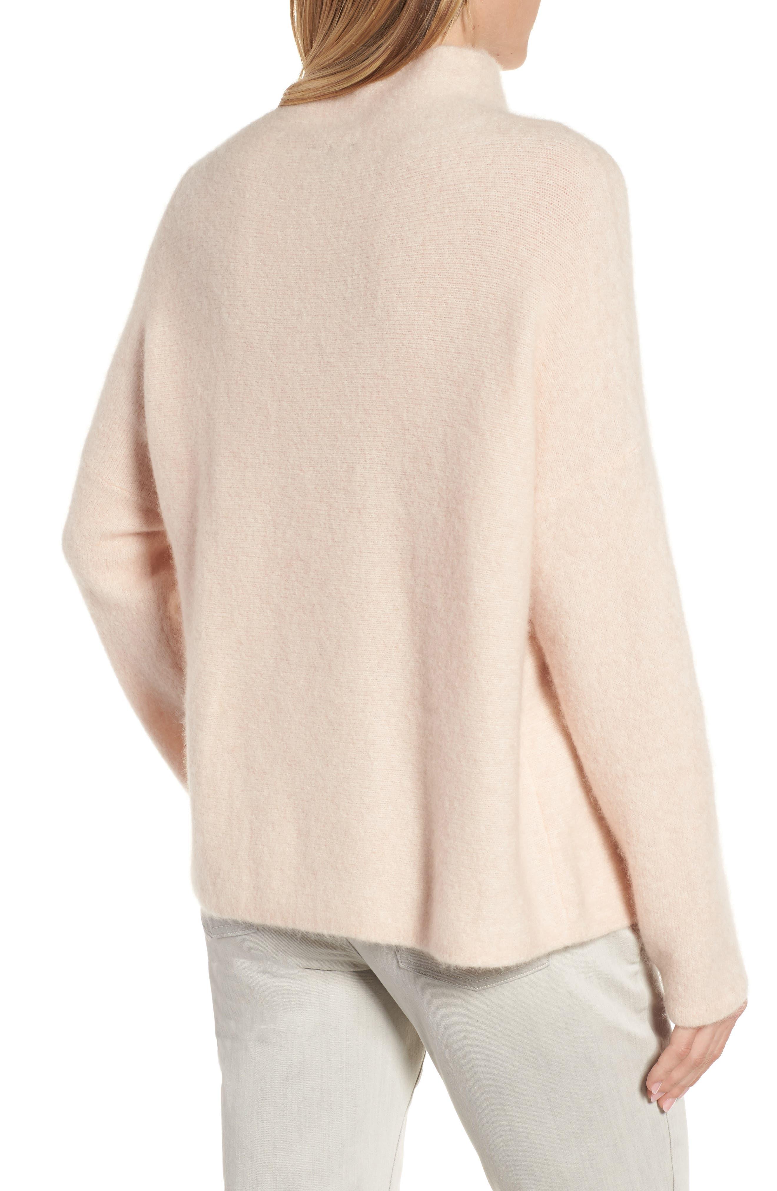 'Bouclé Bliss' Cashmere & Silk Blend Funnel Neck Sweater,                             Alternate thumbnail 2, color,                             Dune