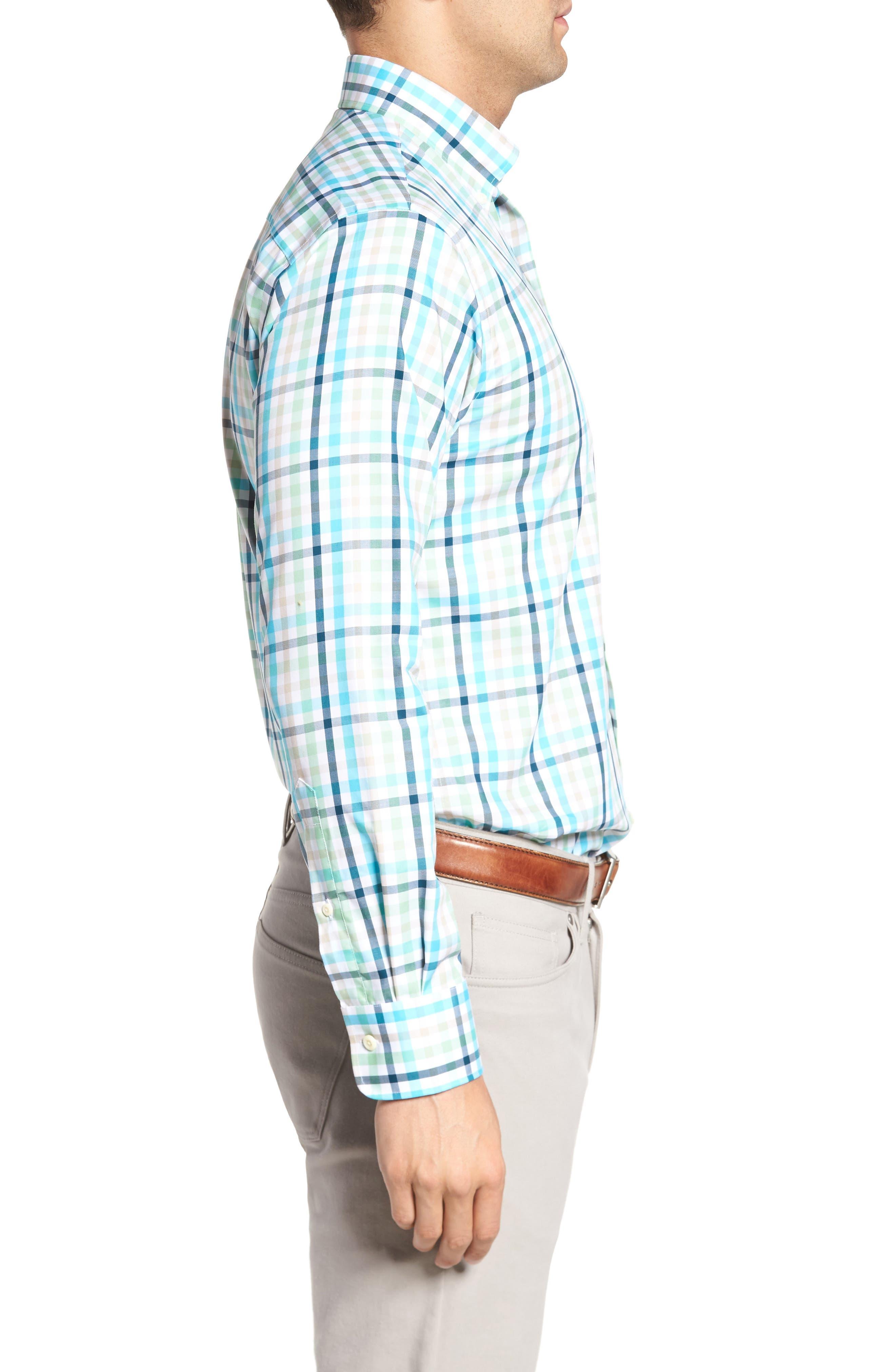 Classic Fit Crown Ease Kohala Check Sport Shirt,                             Alternate thumbnail 3, color,                             Blue Fish