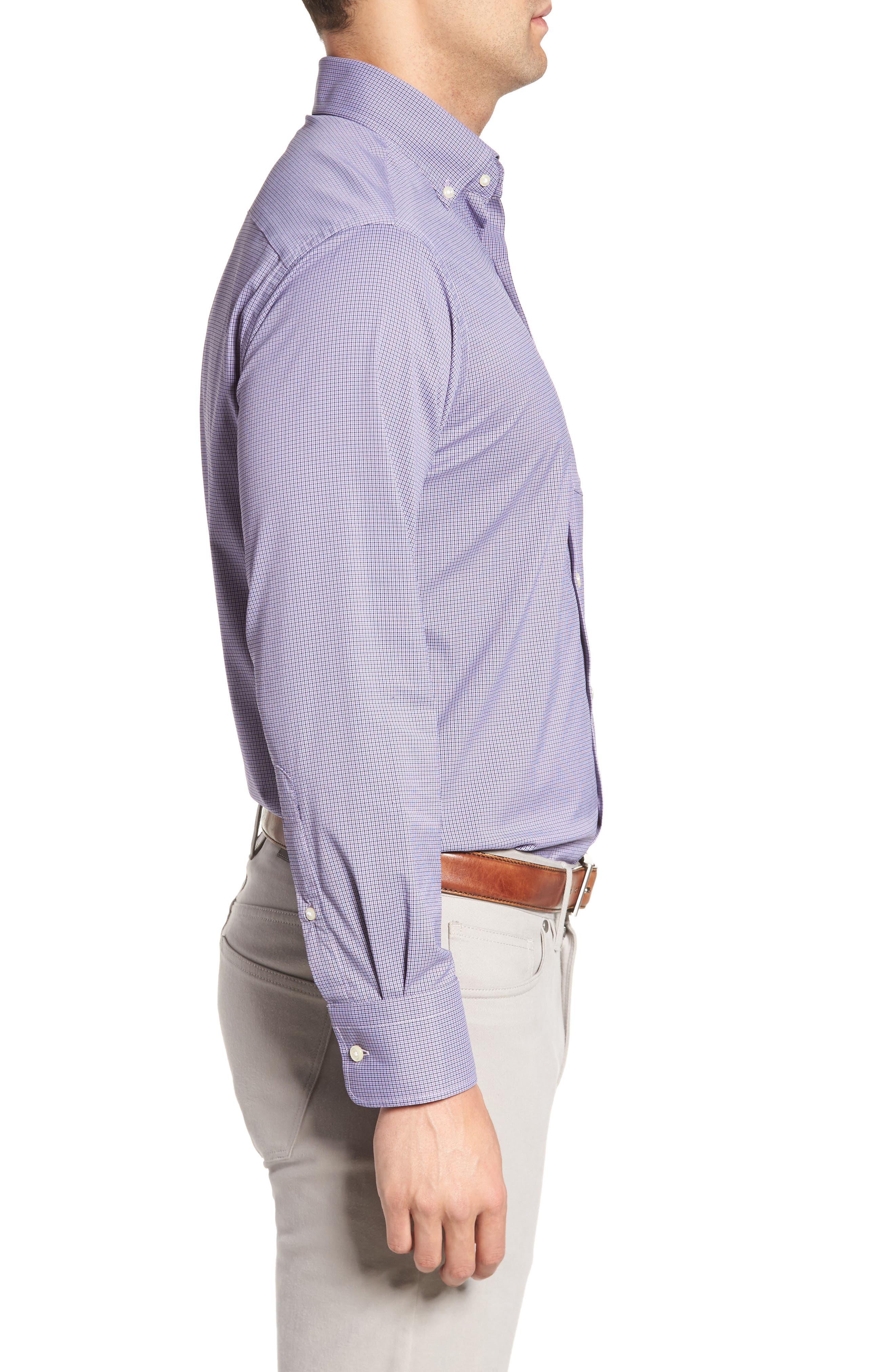 Parsons Check Performance Sport Shirt,                             Alternate thumbnail 3, color,                             Muscadine