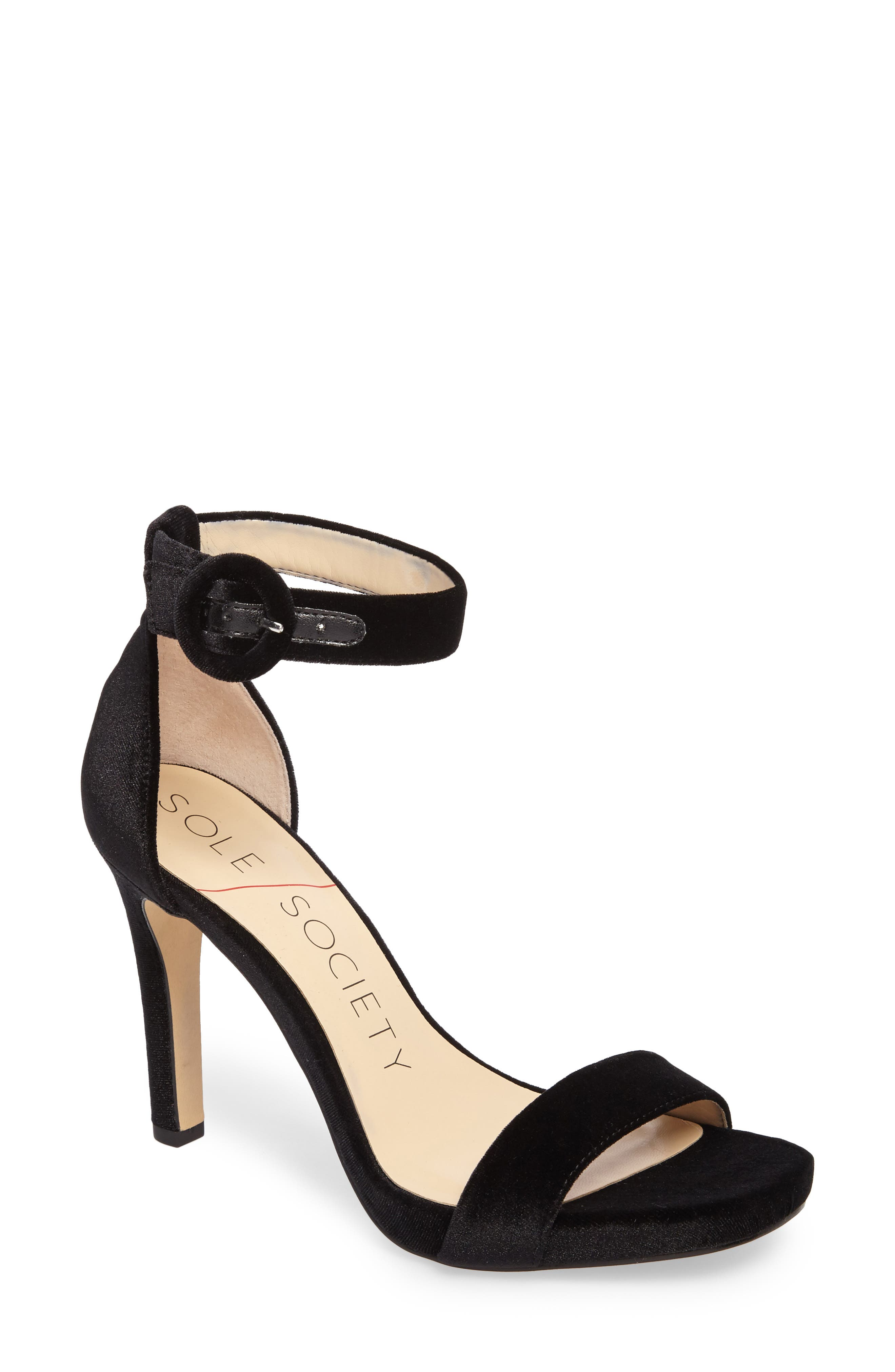 Emelia Ankle Strap Sandal,                             Main thumbnail 1, color,                             Black