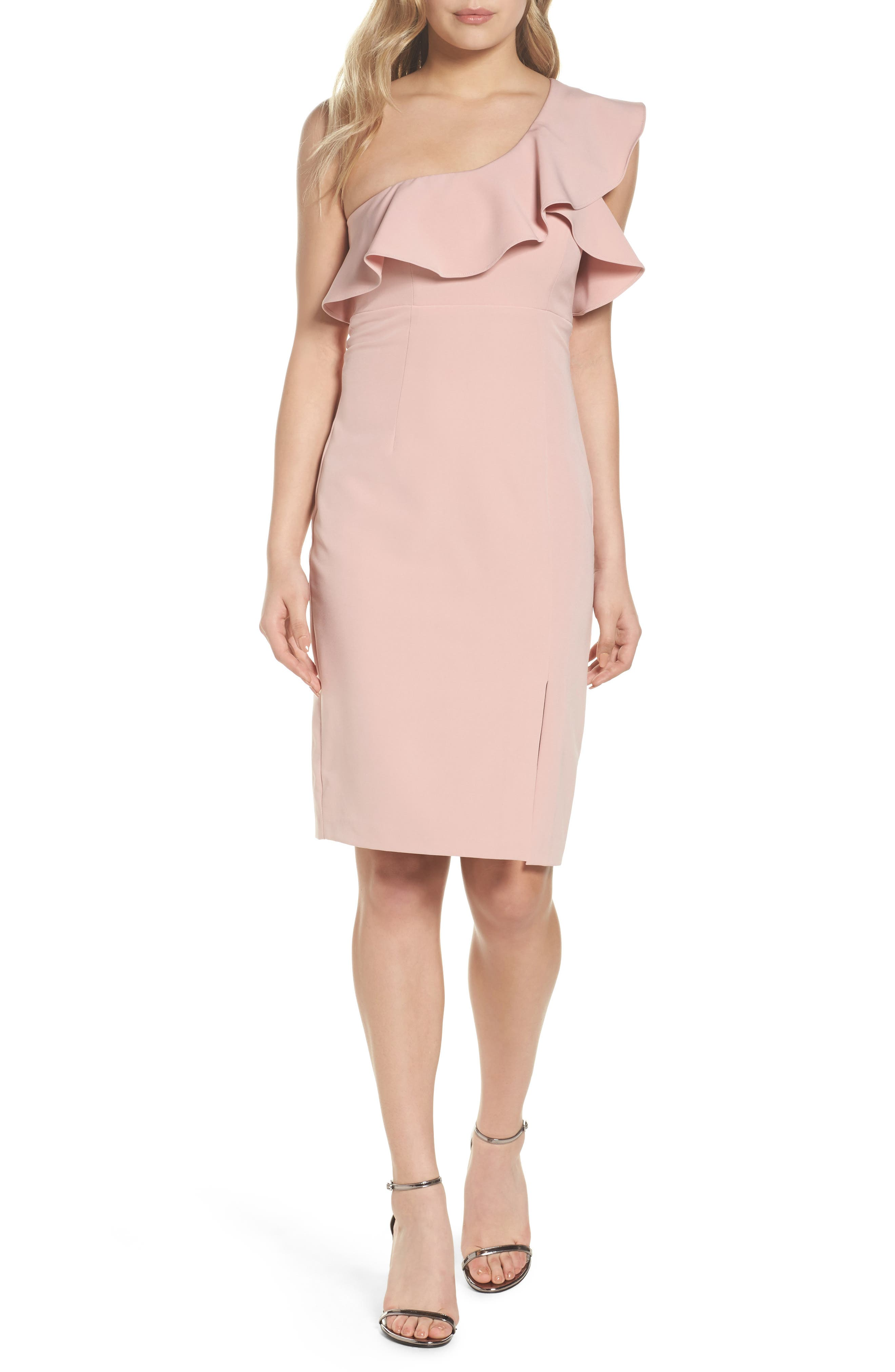 One-Shoulder Ruffle Sheath Dress,                             Main thumbnail 1, color,                             Pastel