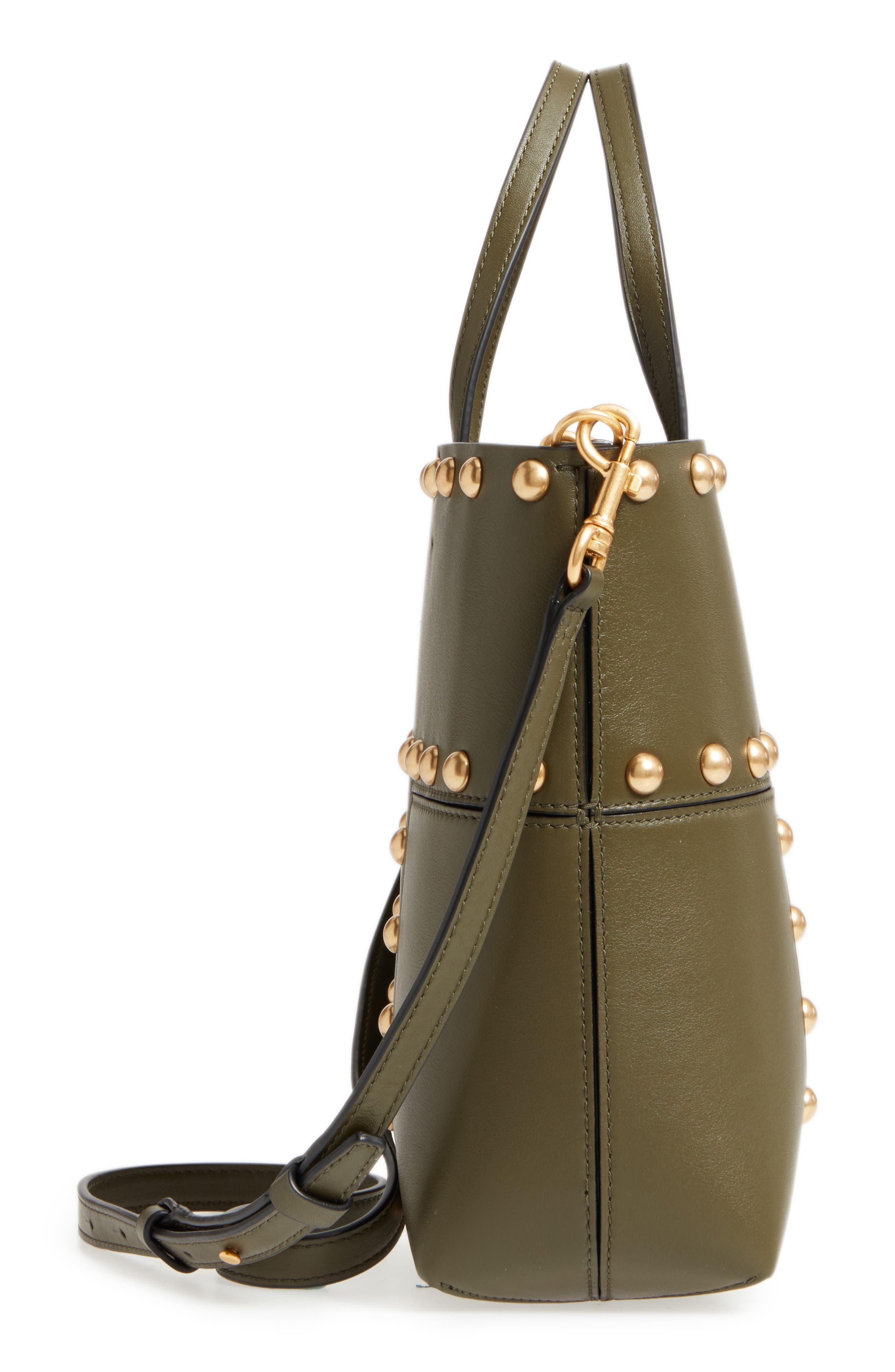 Block-T Mini Studded Leather Tote,                             Alternate thumbnail 4, color,                             Leccio