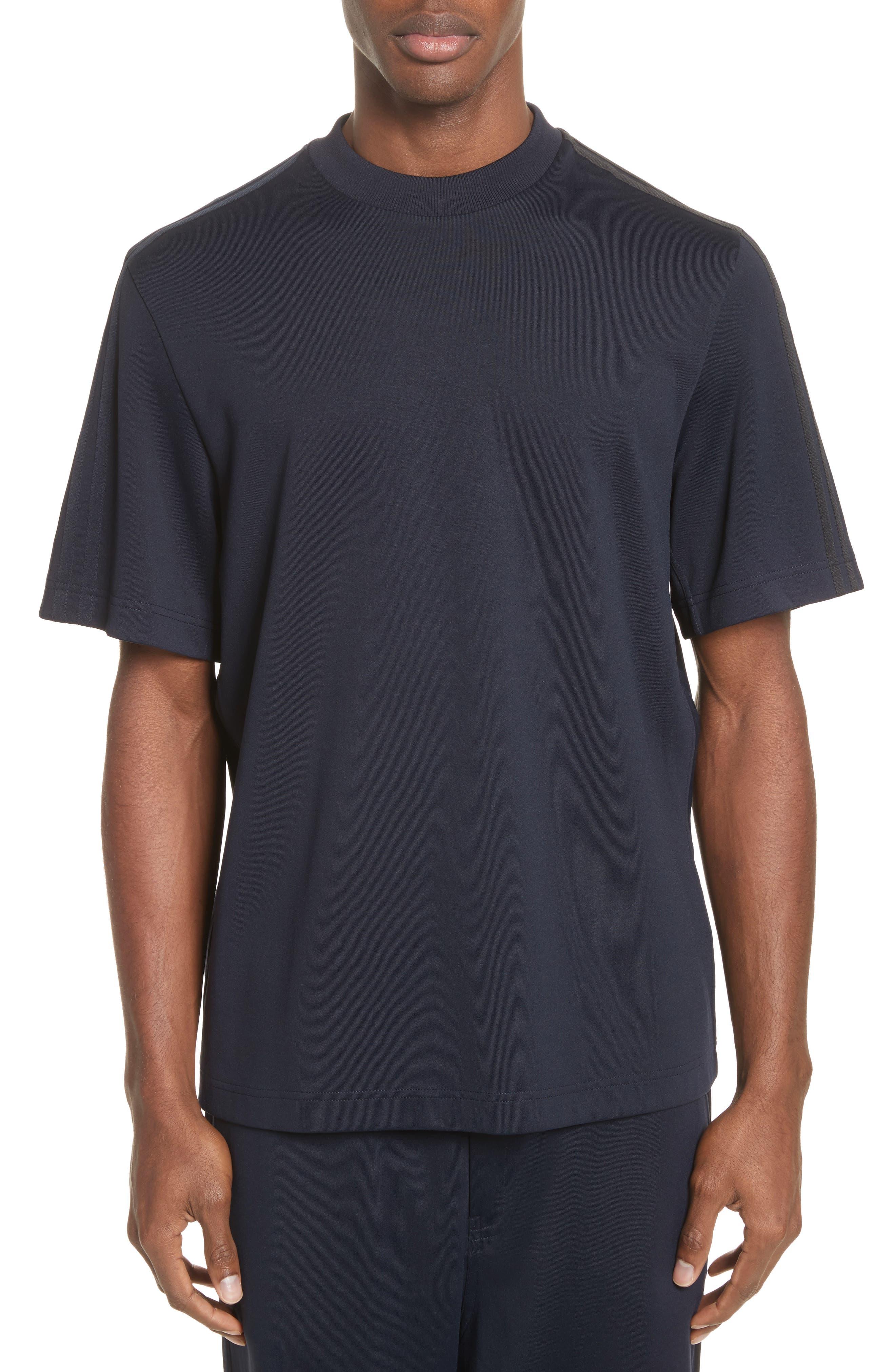 x adidas Tonal Stripe Crewneck T-Shirt,                             Main thumbnail 1, color,                             Navy