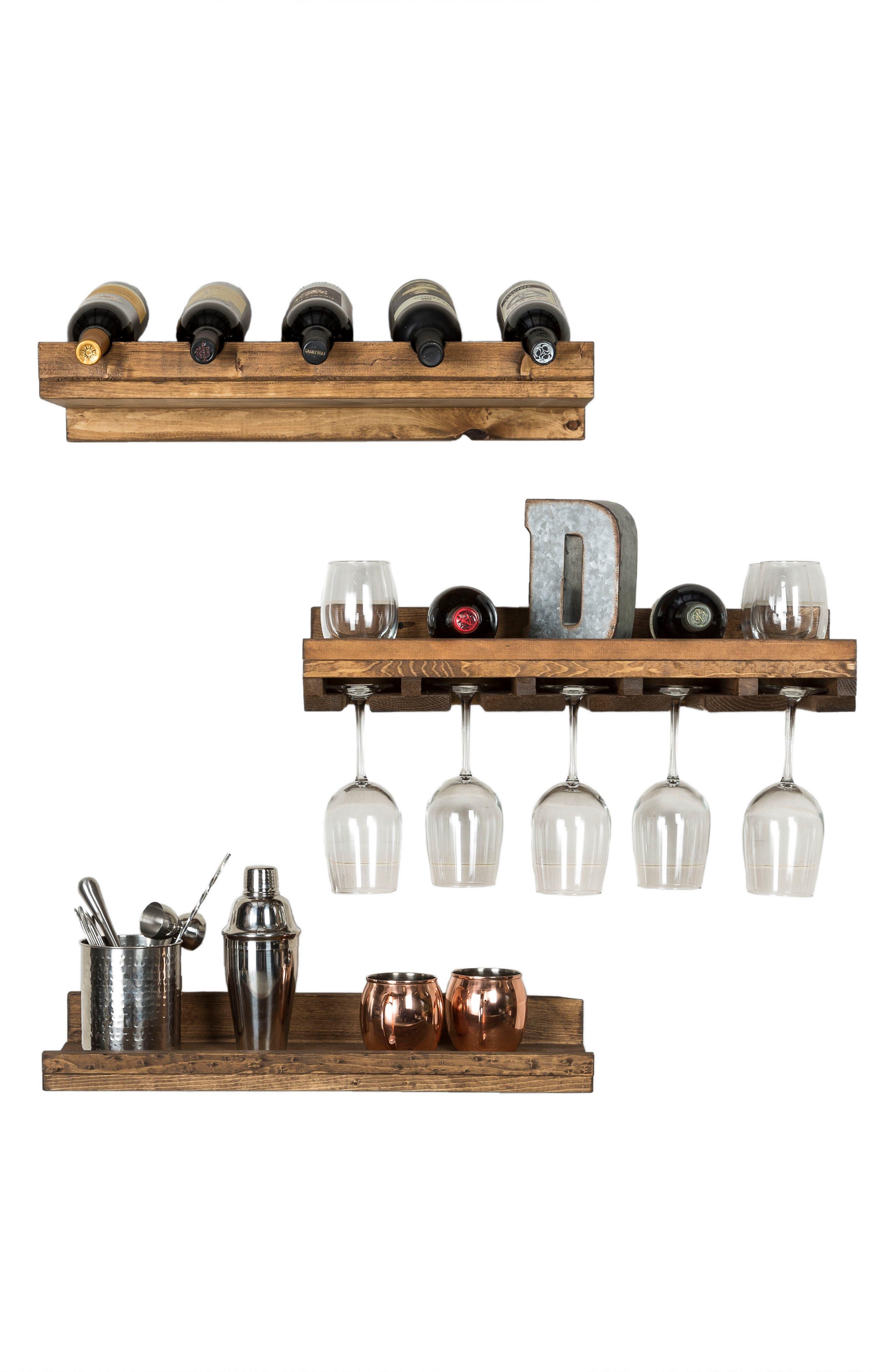 Set of 3 Pine Wood Wine Racks,                             Alternate thumbnail 5, color,                             Dark Walnut