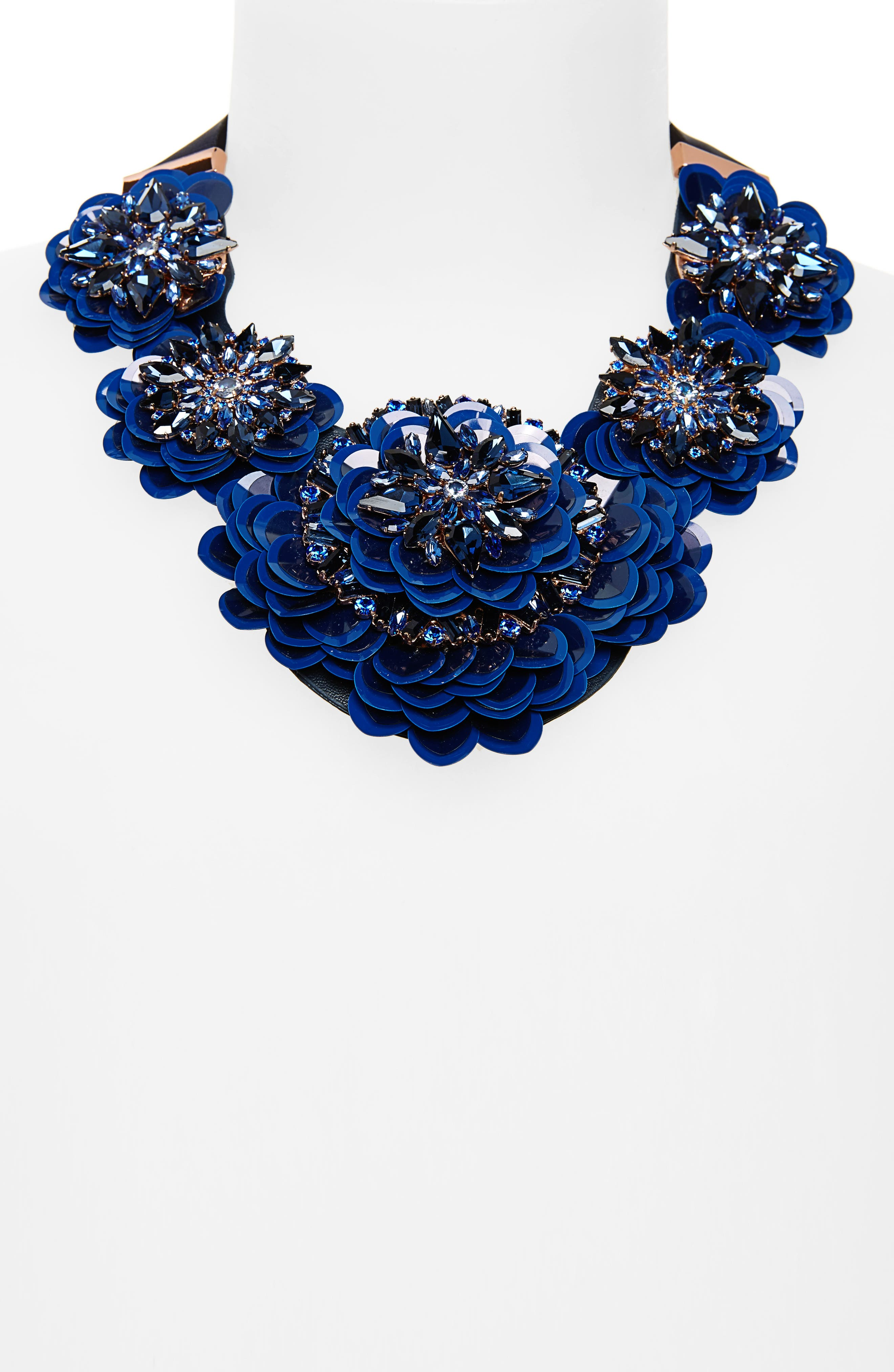 snowy nights sequin statement necklace,                             Alternate thumbnail 2, color,                             Navy Multi