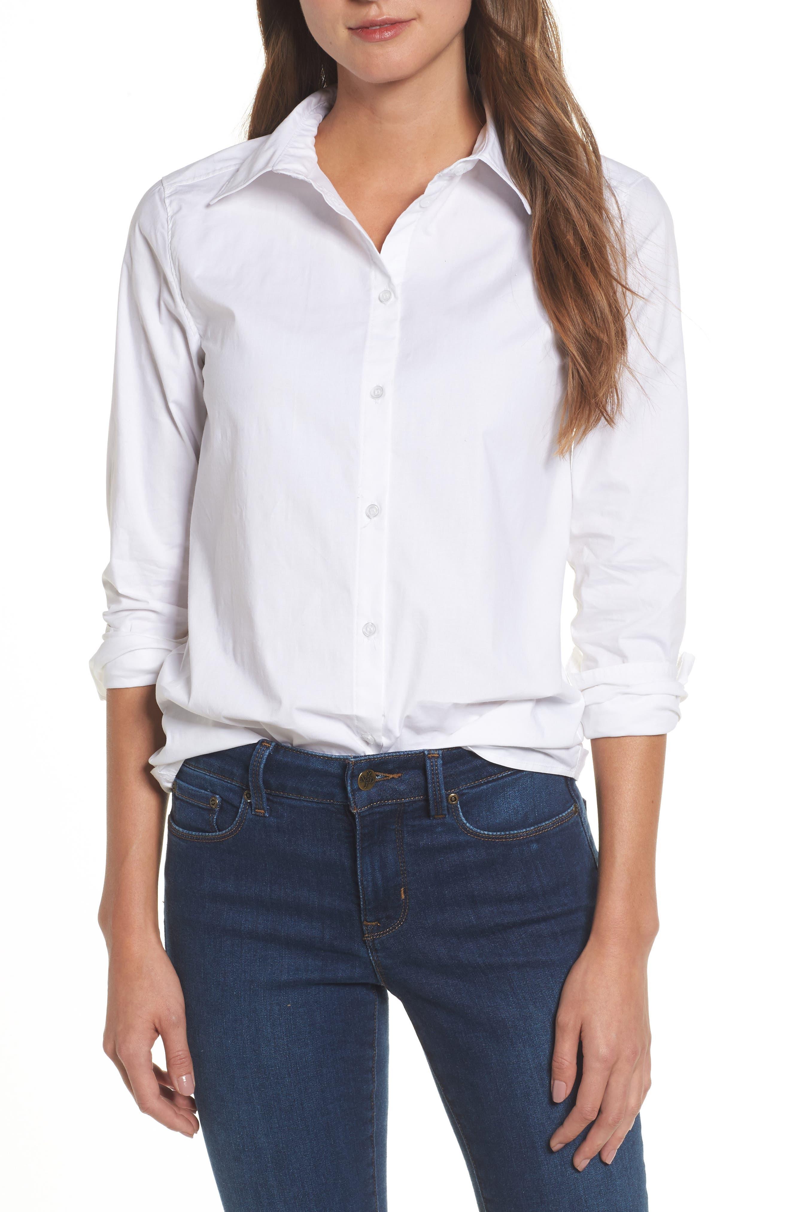 Caslon Button Front Shirt (Regular & Petite)