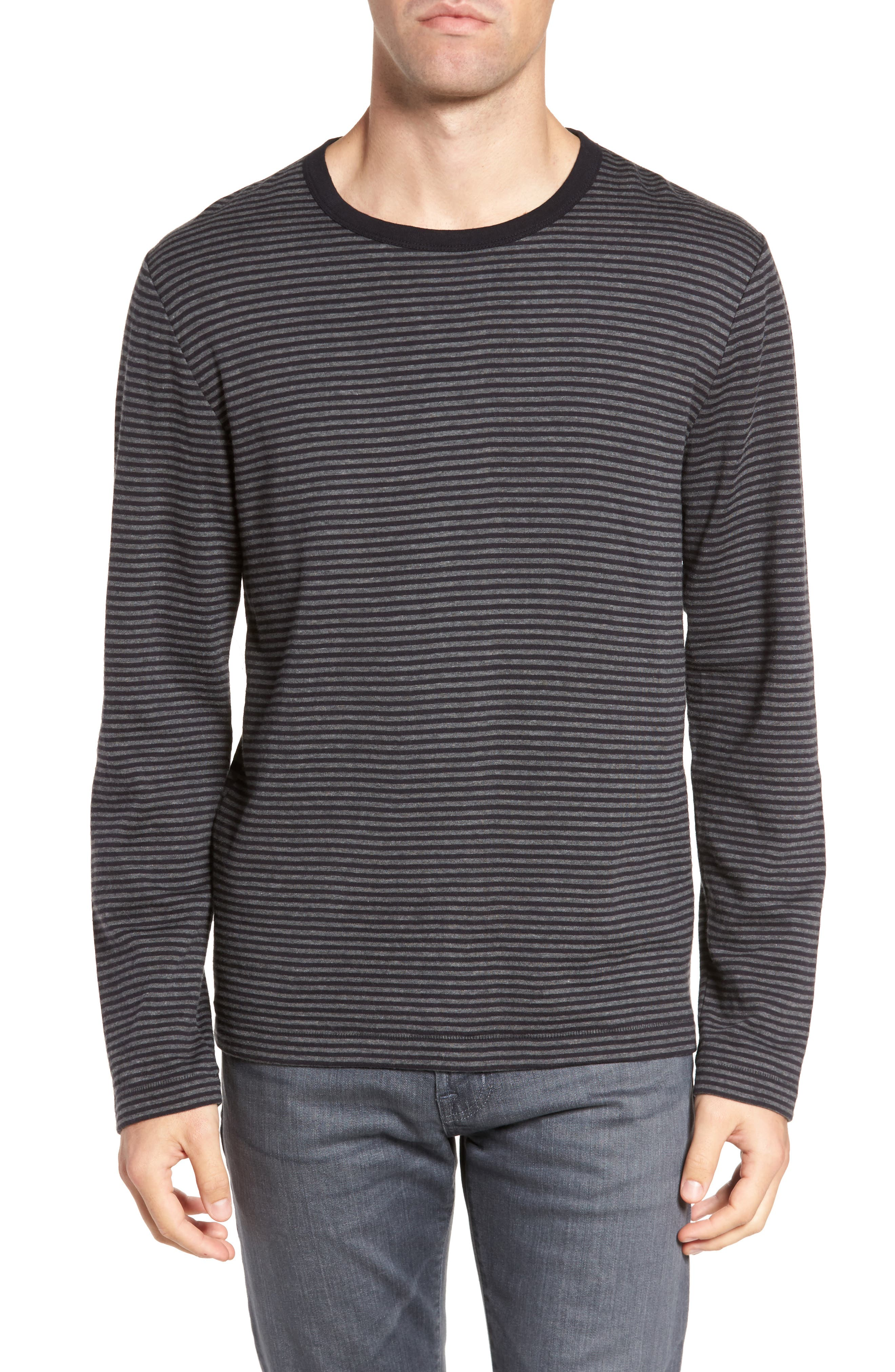 Alternative Stripe Long Sleeve T-Shirt,                             Main thumbnail 1, color,                             Charcoal Melange/ Black