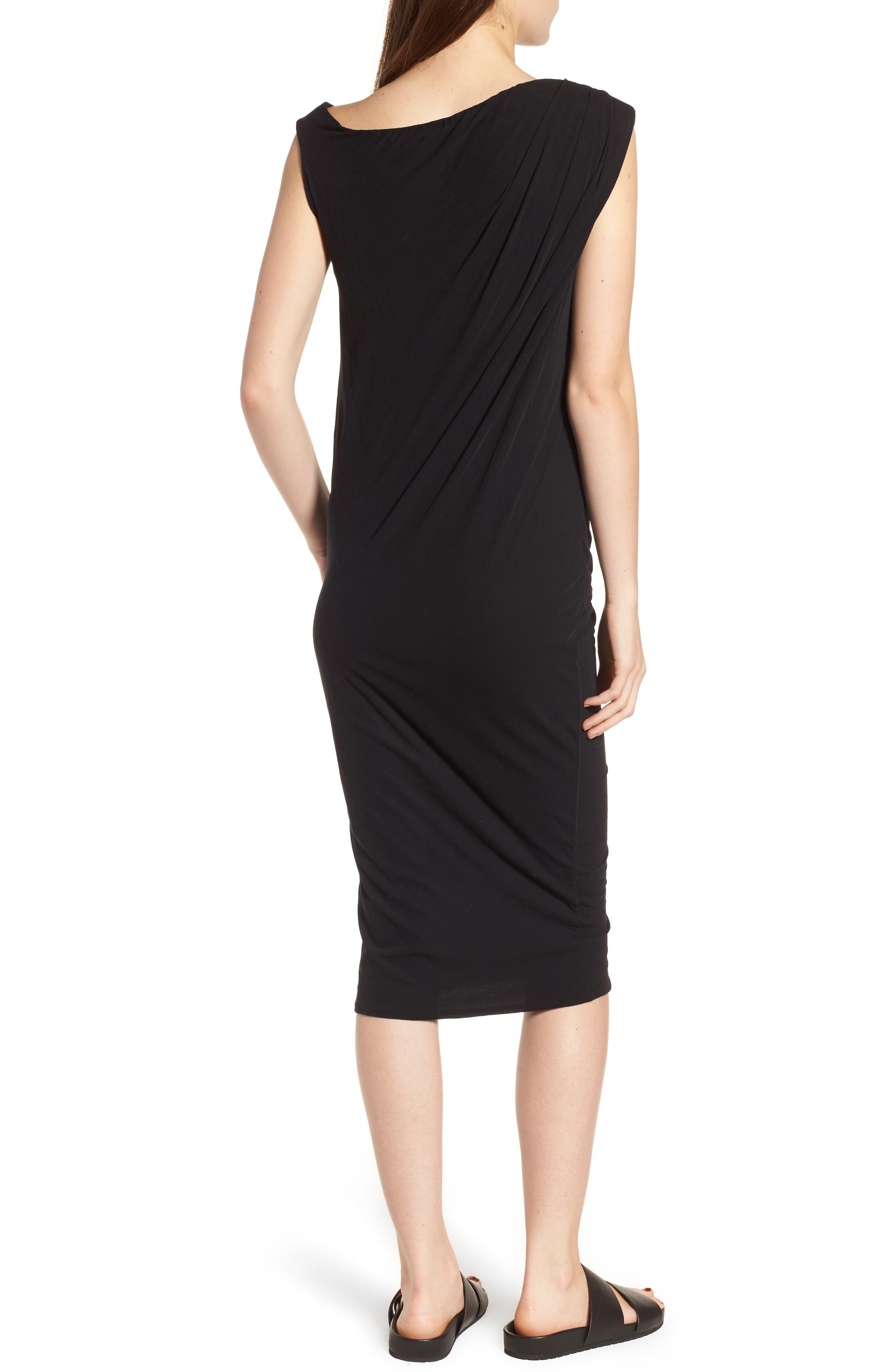 Draped One-Shoulder Midi Dress,                             Alternate thumbnail 2, color,                             Black