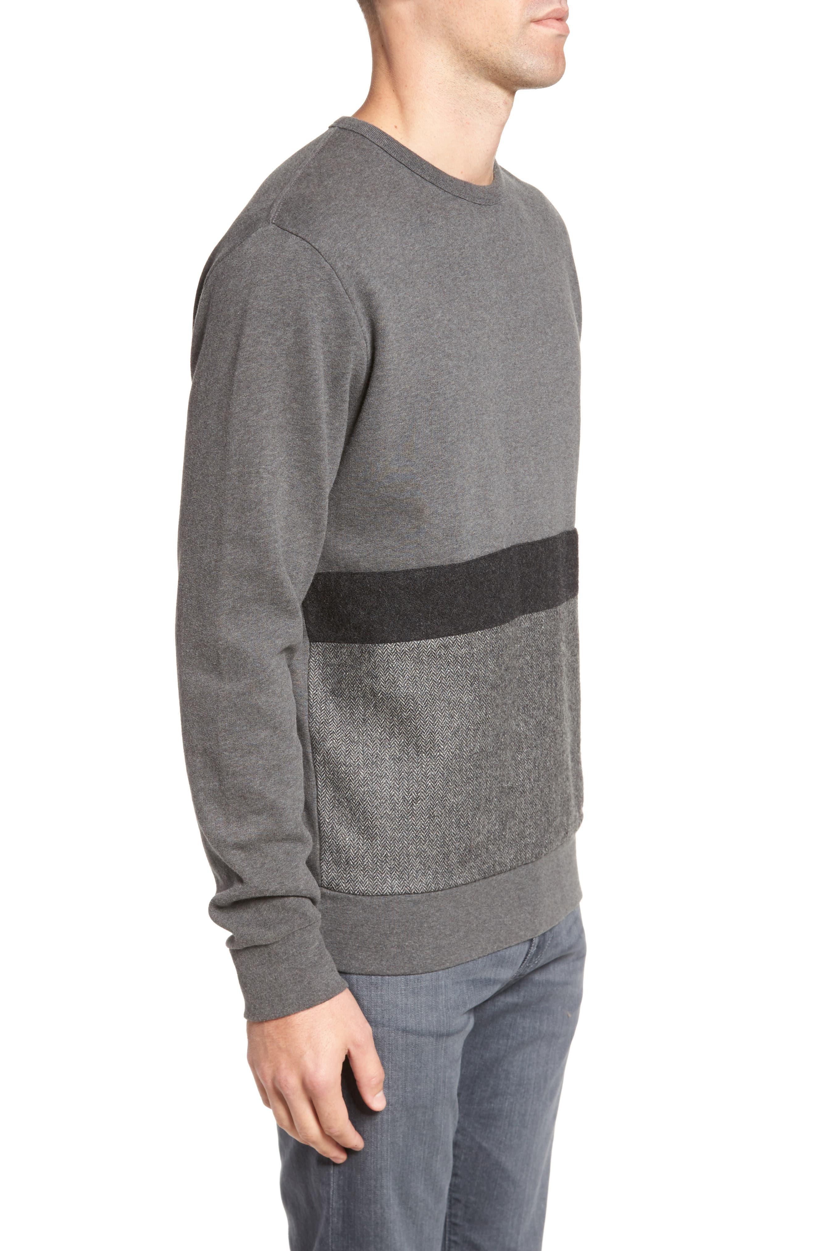 Tweed Appliqué Sweatshirt,                             Alternate thumbnail 3, color,                             Charcoal Melange