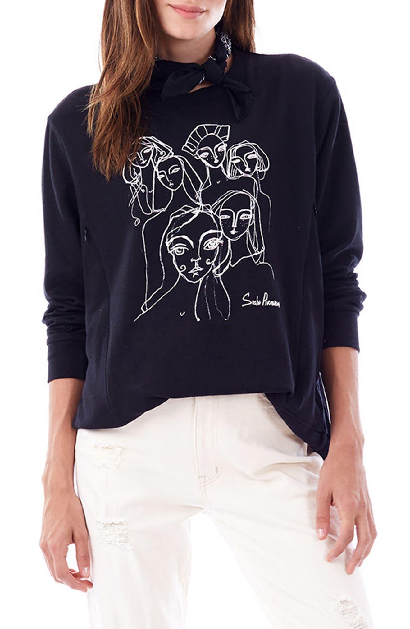 Sasha Maternity/Nursing Sweatshirt,                             Main thumbnail 1, color,                             Black
