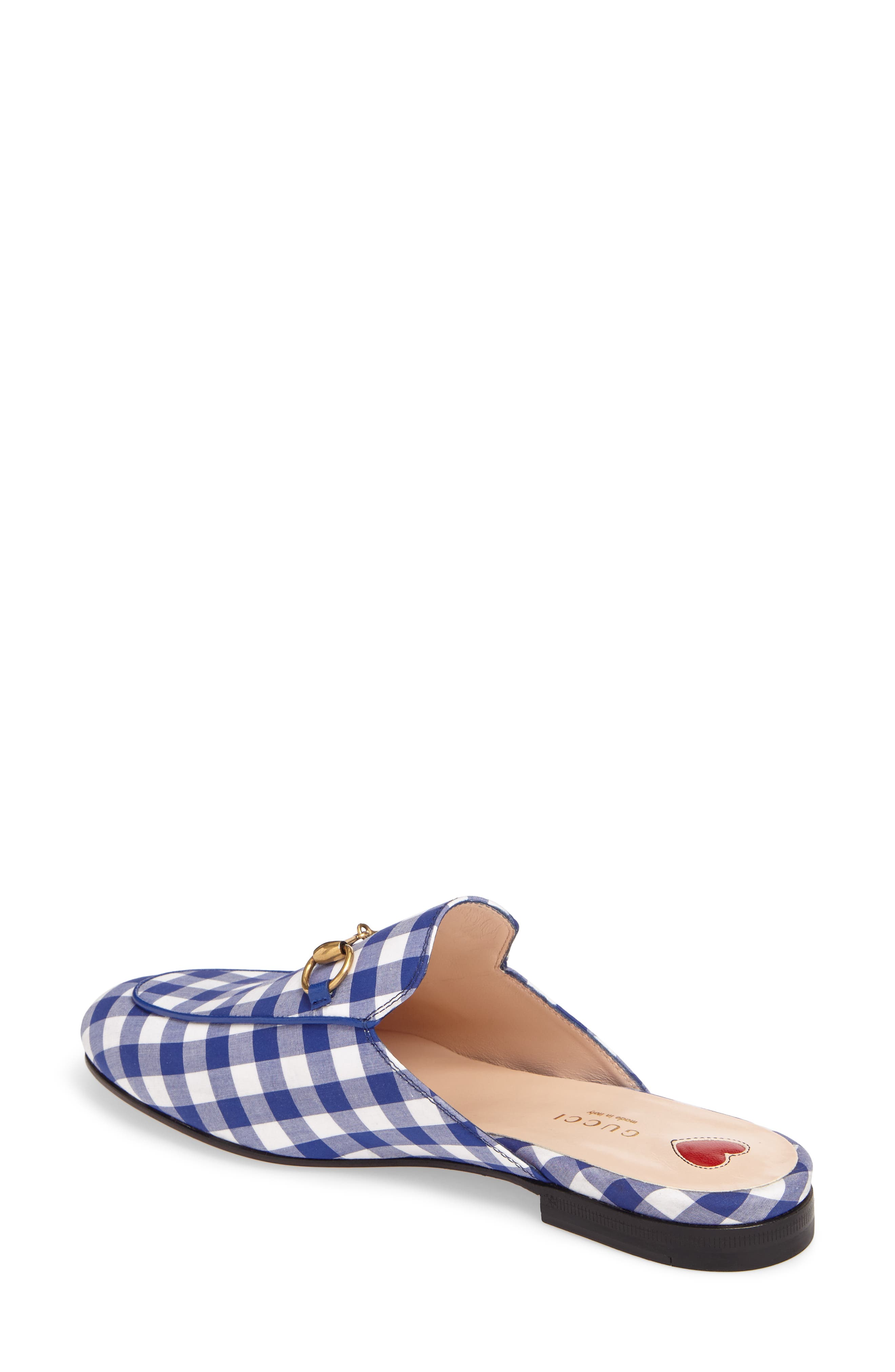 Princetown Gingham Loafer Mule,                             Alternate thumbnail 2, color,                             White/ Electric Blue