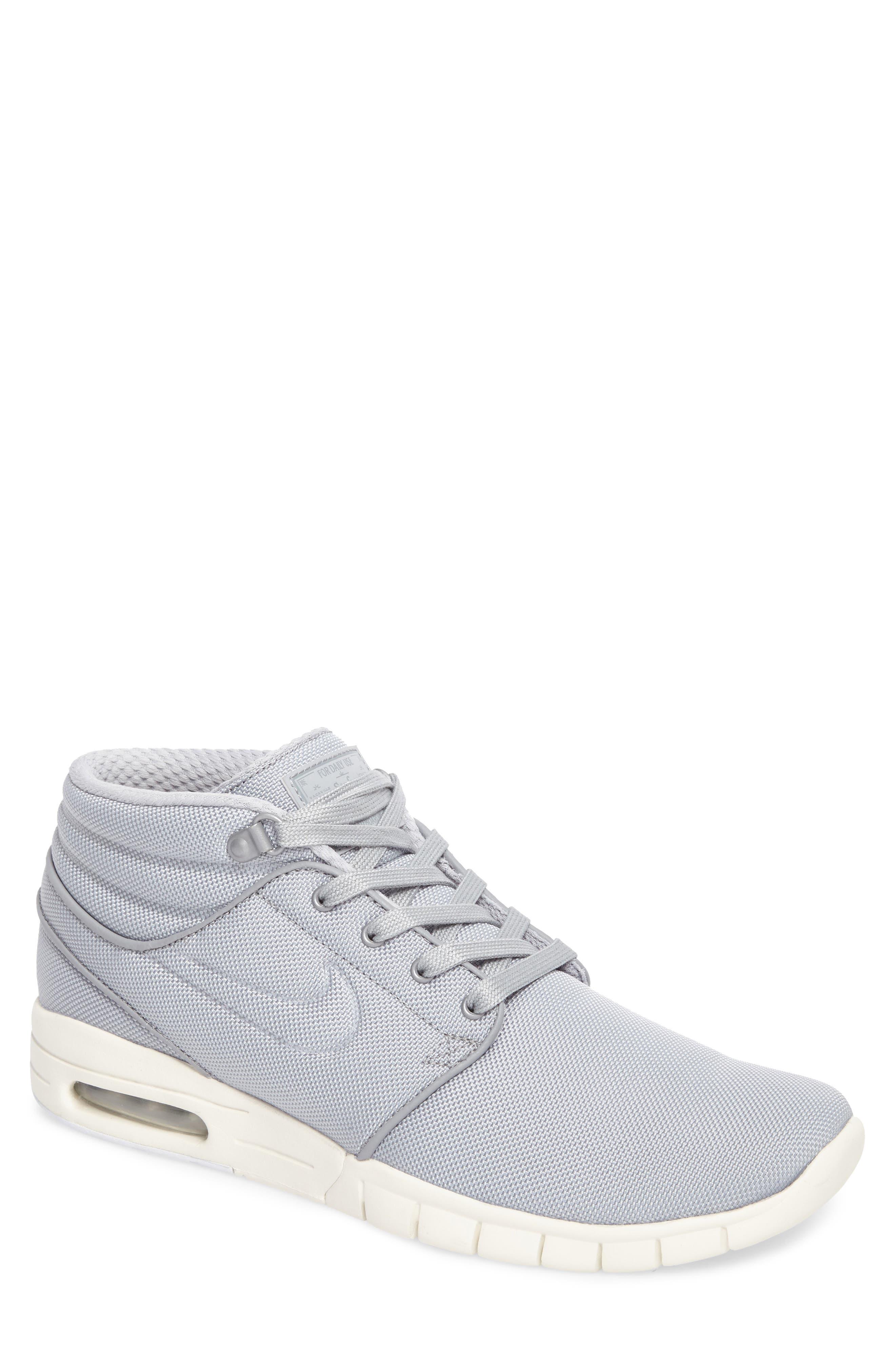 SB Stefan Janoski Max Mid Skate Shoe,                         Main,                         color, Wolf Grey/ Wolf Grey-Cool Grey
