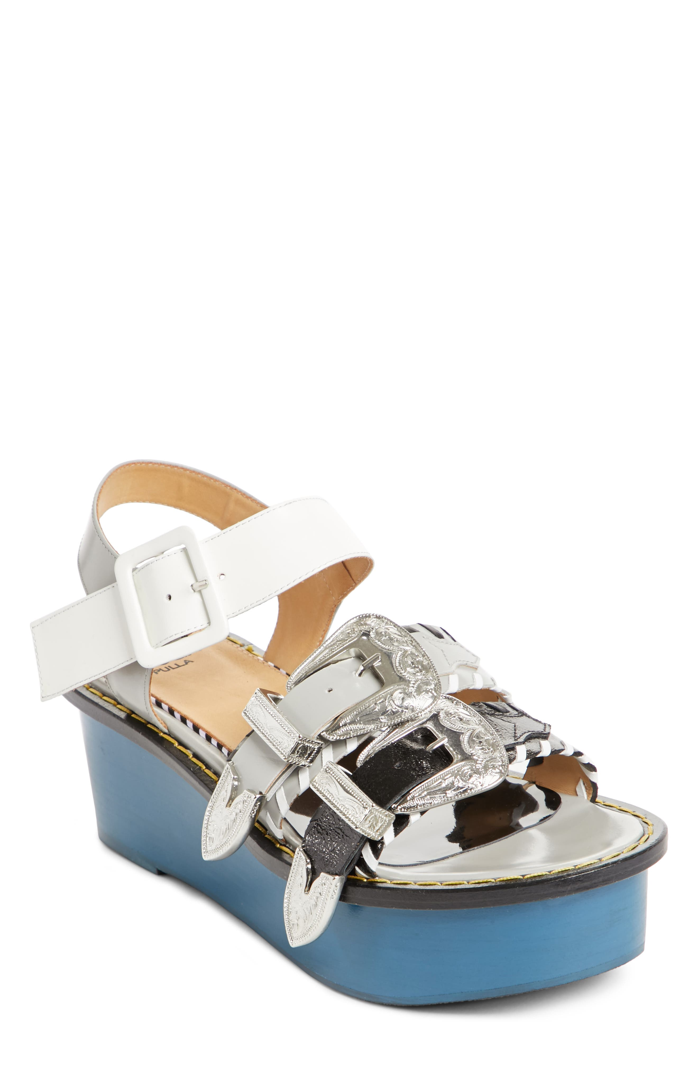 TOGA PULLA Colorblock Triple Strap Platform Sandal (Women)