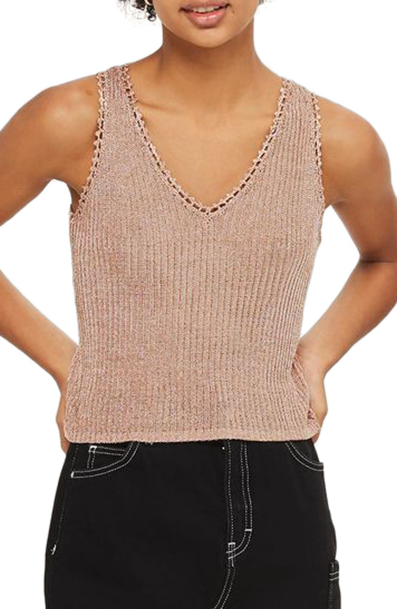 Metallic Ribbed Sweater Tank,                             Main thumbnail 1, color,                             Rose Gold