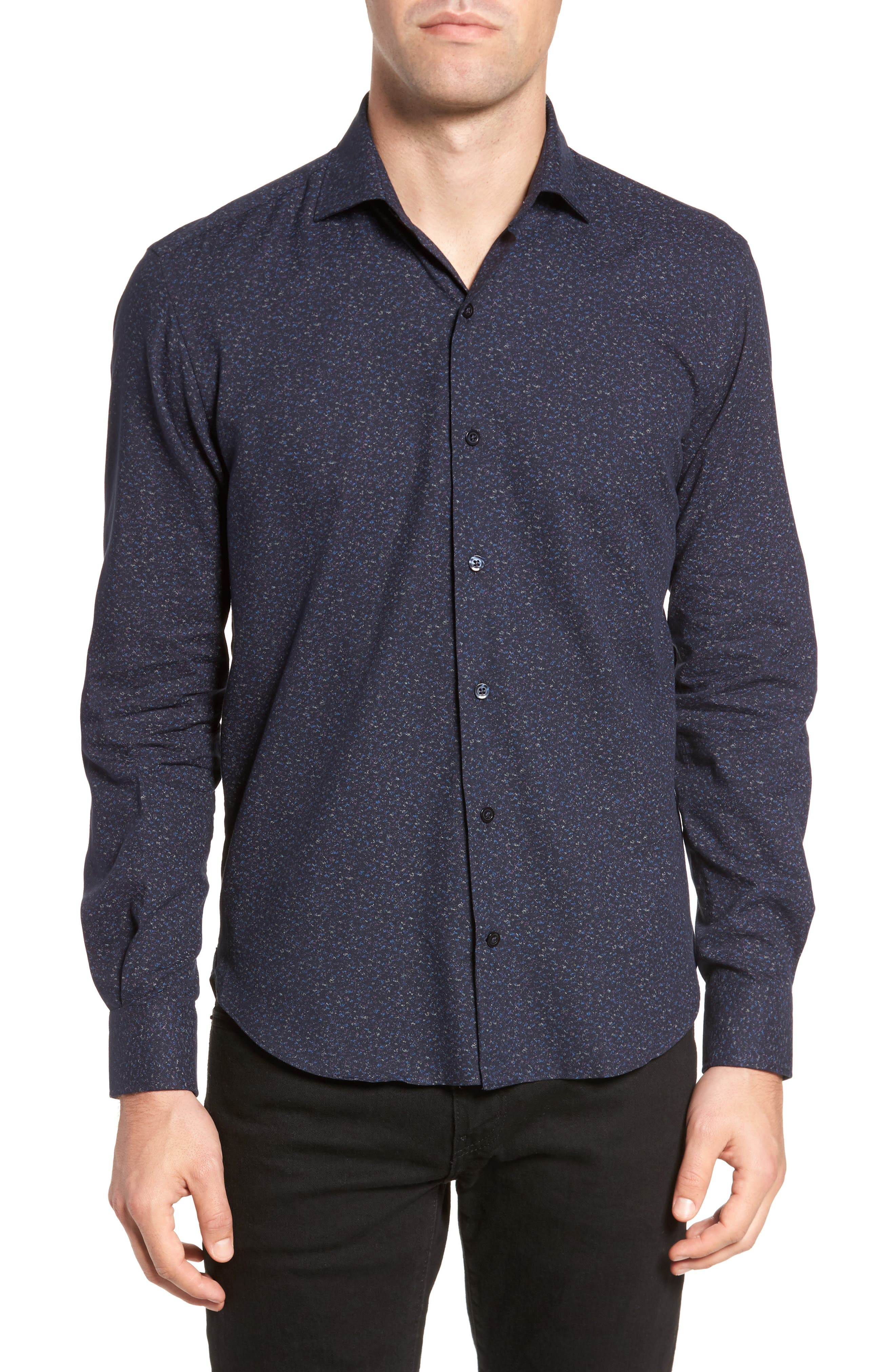 Speckled Sport Shirt,                         Main,                         color, Navy