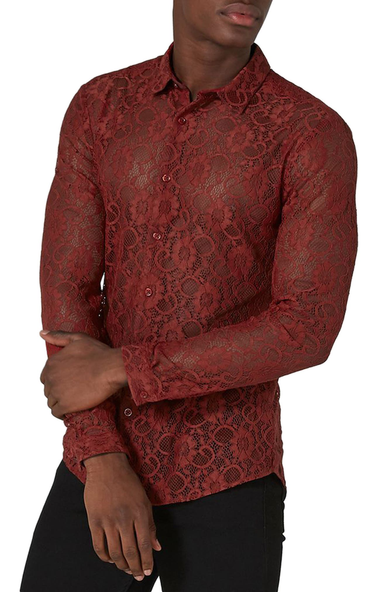 Muscle Fit Sheer Lace Shirt,                             Main thumbnail 1, color,                             Red