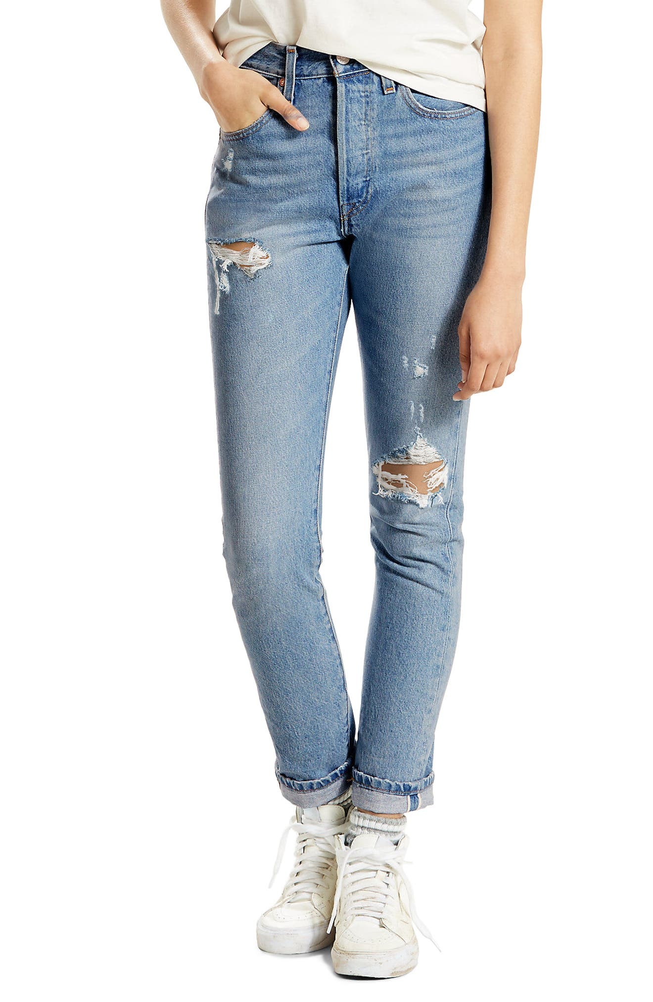 501 High Waist Skinny Jeans,                         Main,                         color, Cant Touch This