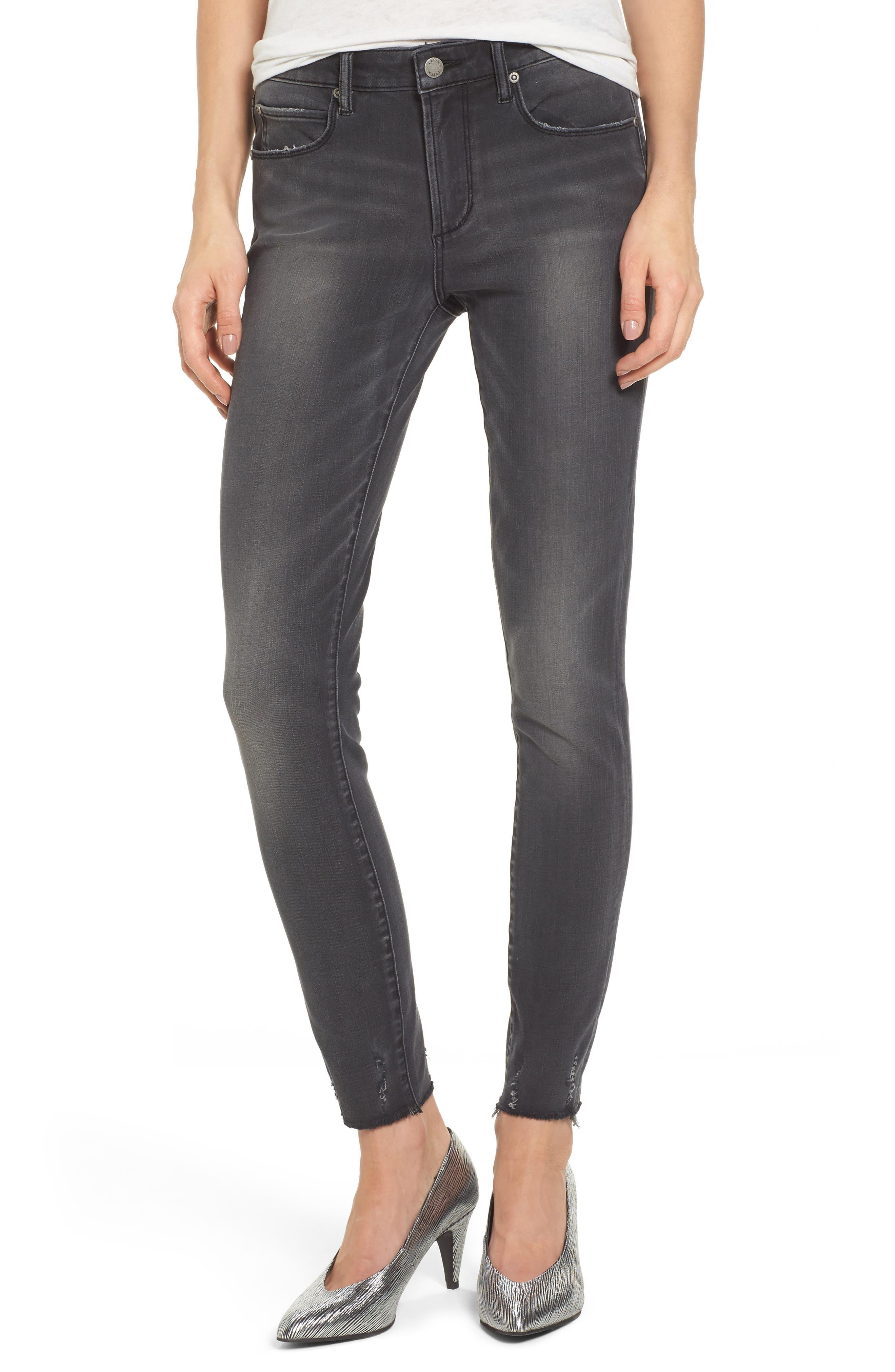 Frayed Hem Skinny Jeans,                         Main,                         color, Grey Wash