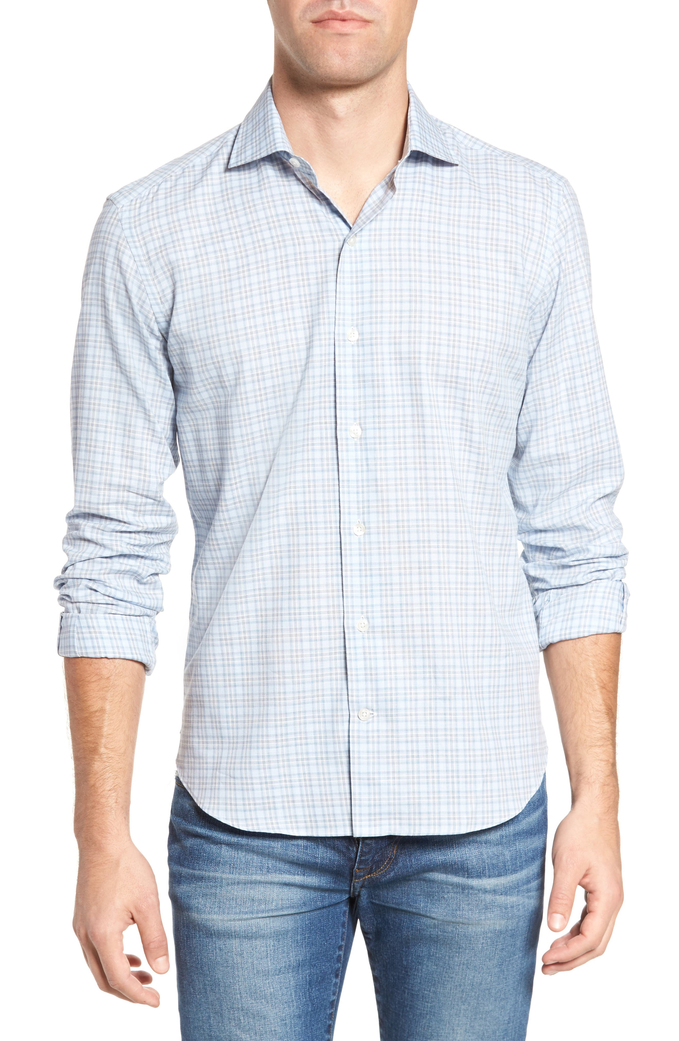 Plaid Sport Shirt,                         Main,                         color, Blue