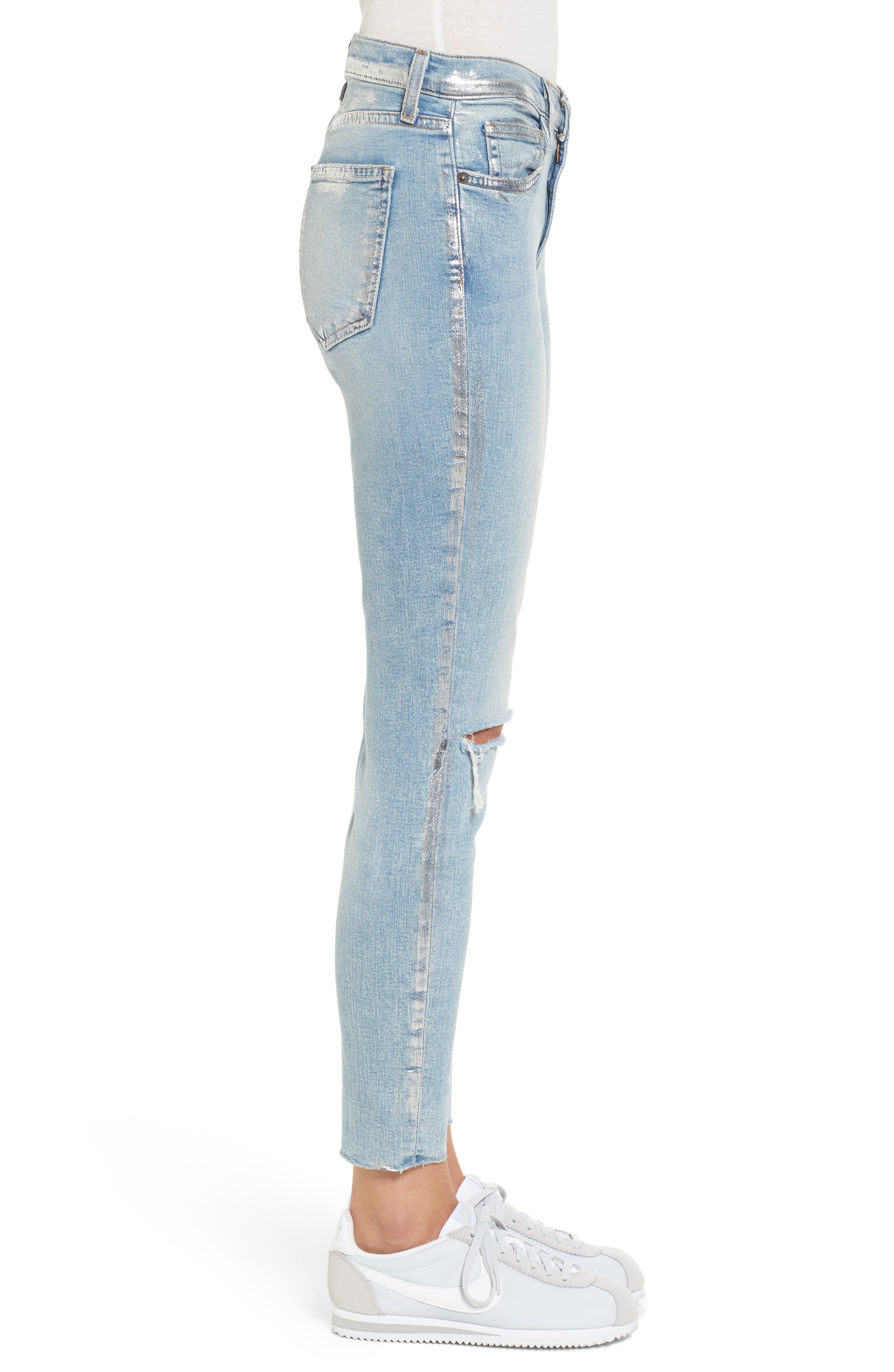 The Stiletto High Waist Skinny Jeans,                             Alternate thumbnail 3, color,                             Seville Destroy/ Foil